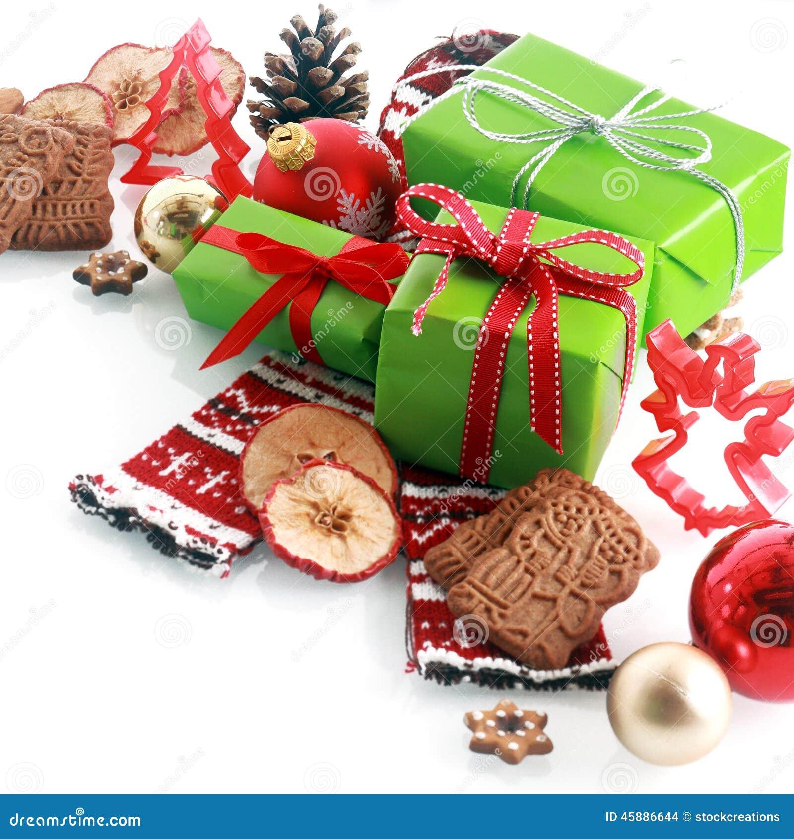 Färgrik röd och themed julstilleben för gree