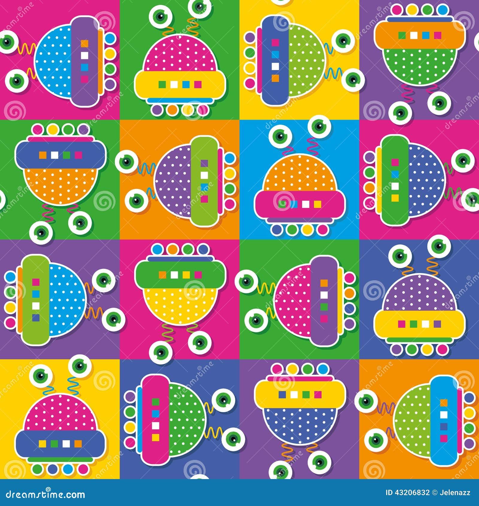 Download Färgrik Robotsamlingsmodell Vektor Illustrationer - Illustration av främmande, prick: 43206832
