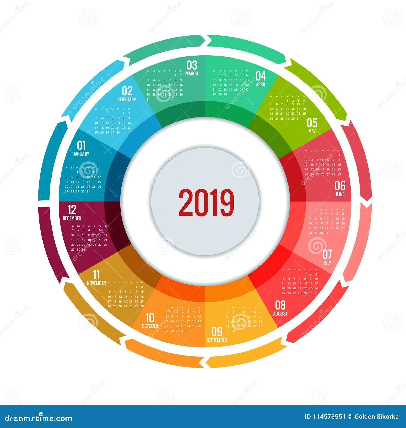 f rgrik rund design f r kalender 2019 tryckmall din logo. Black Bedroom Furniture Sets. Home Design Ideas