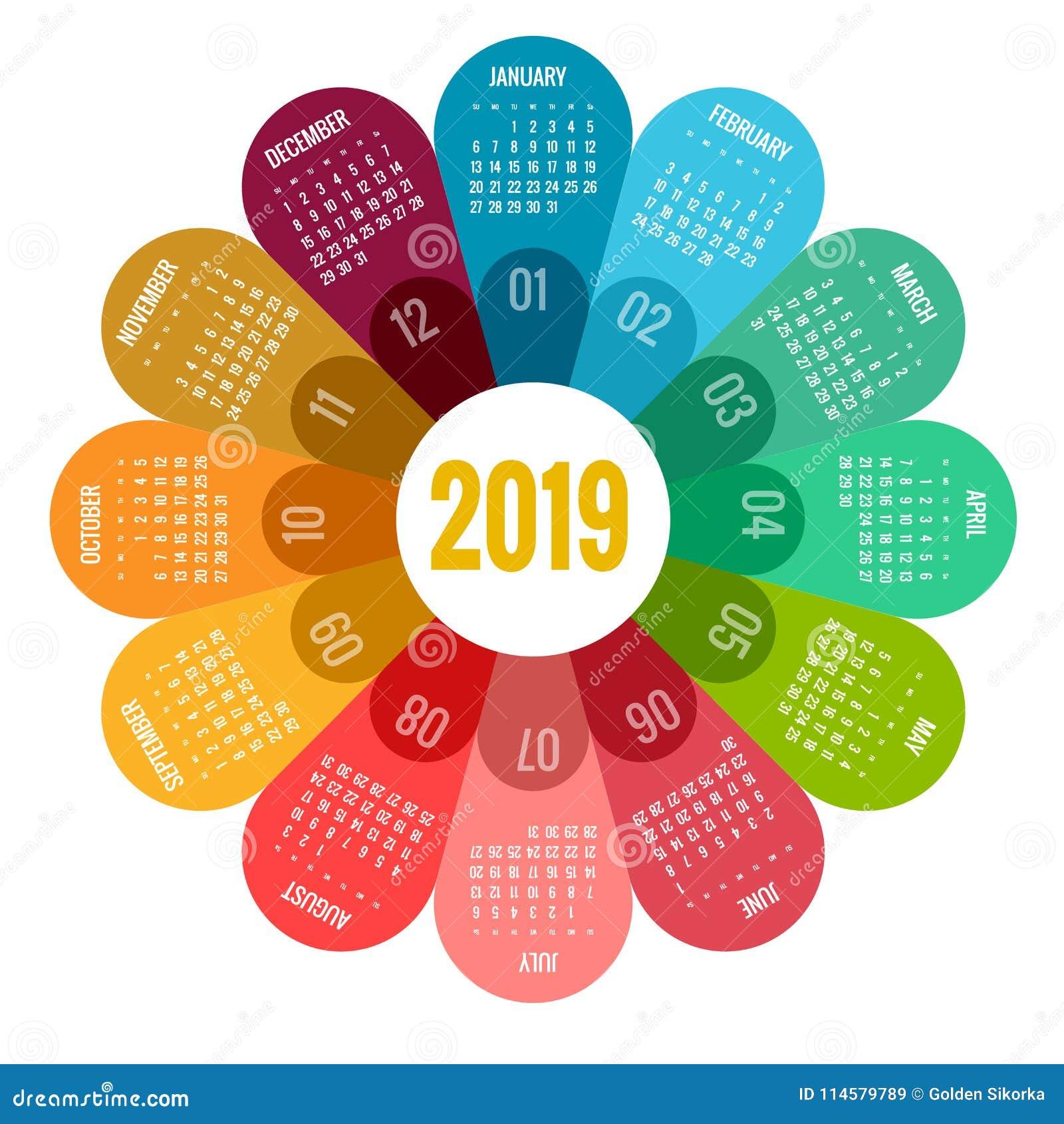 Färgrik rund design för kalender 2019, tryckmall, din logo och text Veckan startar söndag Denna bild tillhör serien som inkludera