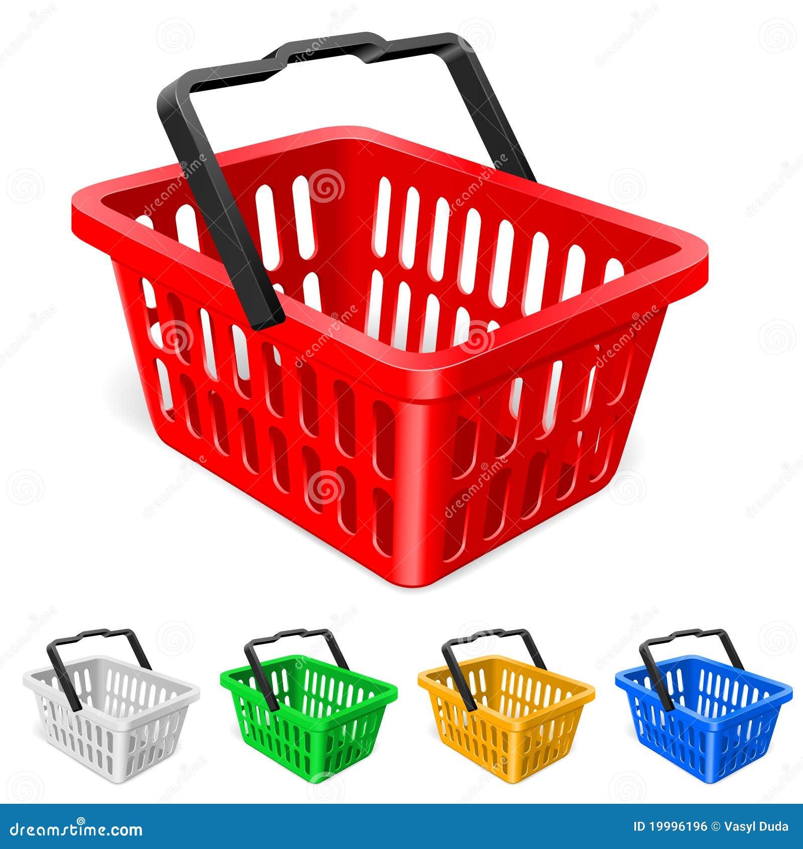 Färgrik shopping för korg