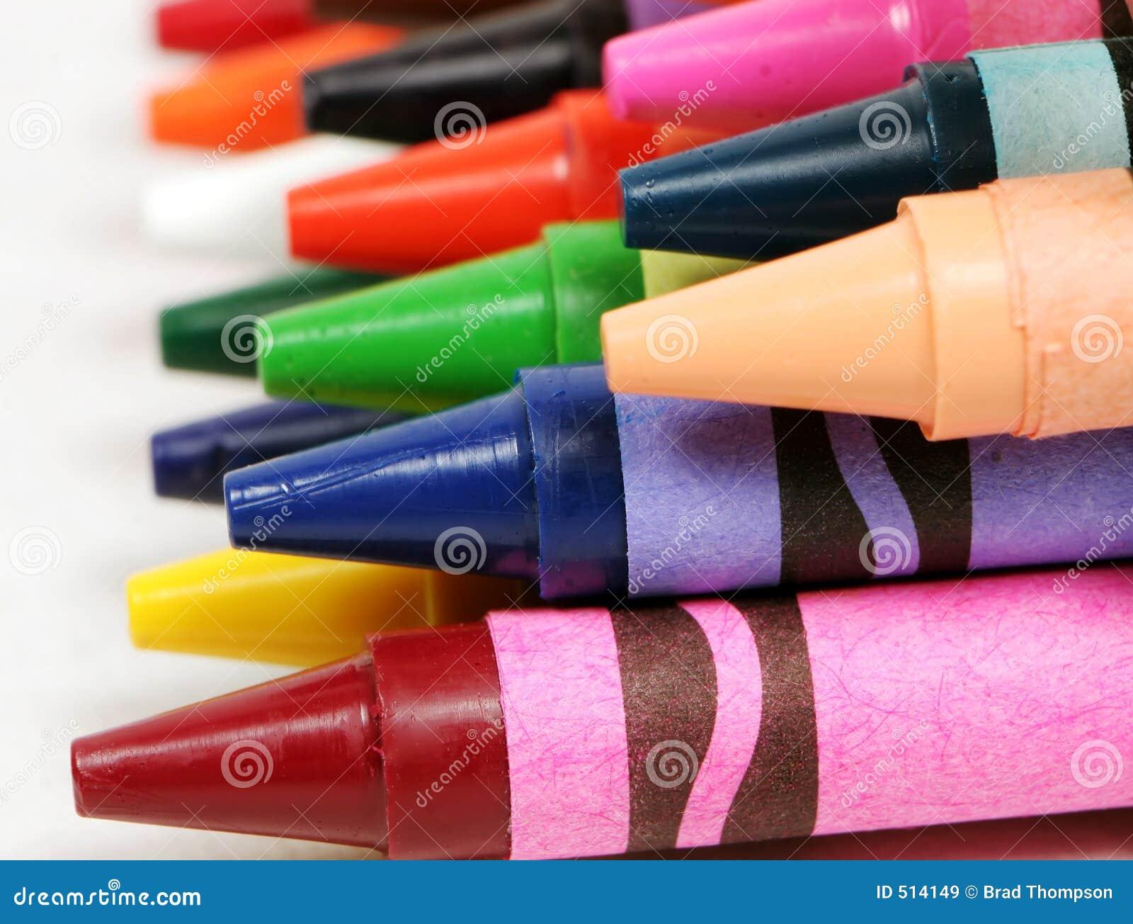 Färgrik skjuten crayonsmakroprofil