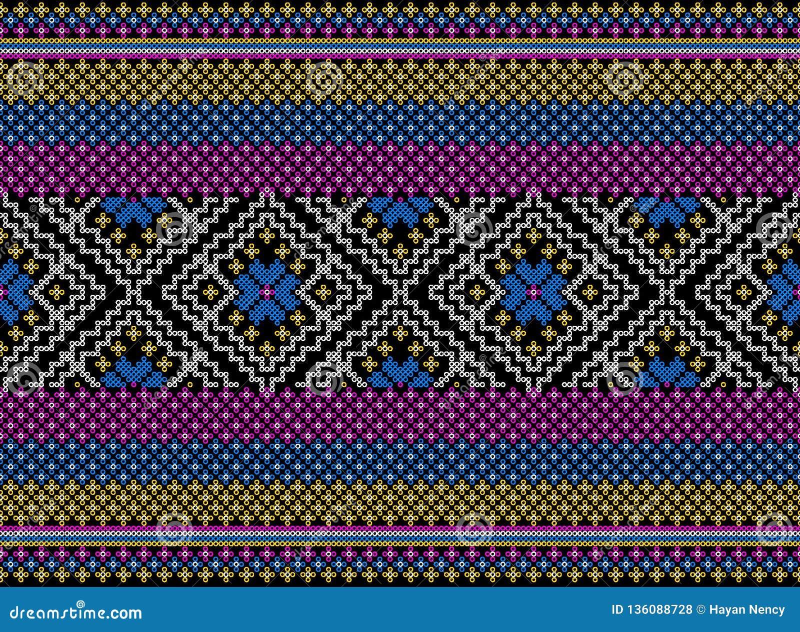 Färgrik stam- och Aztec sömlös modell