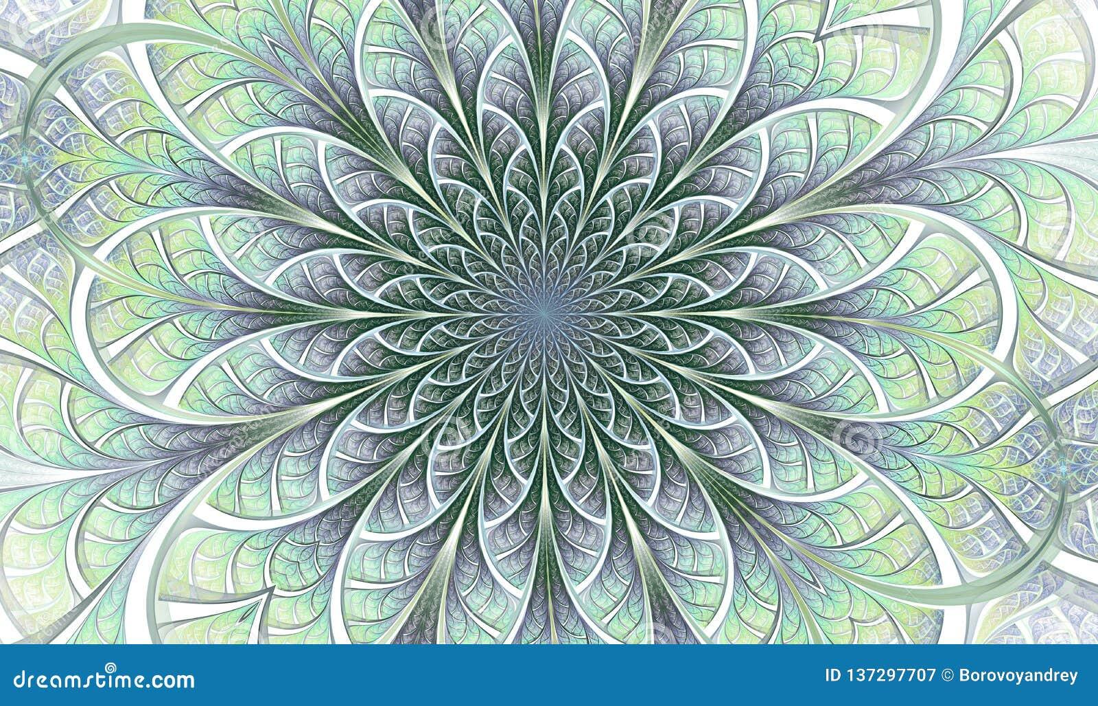 Färgrik symmetrisk fractalblomma Digital konstverk för idérik grafisk design yellow för modell för hjärta för blommor för fjärils