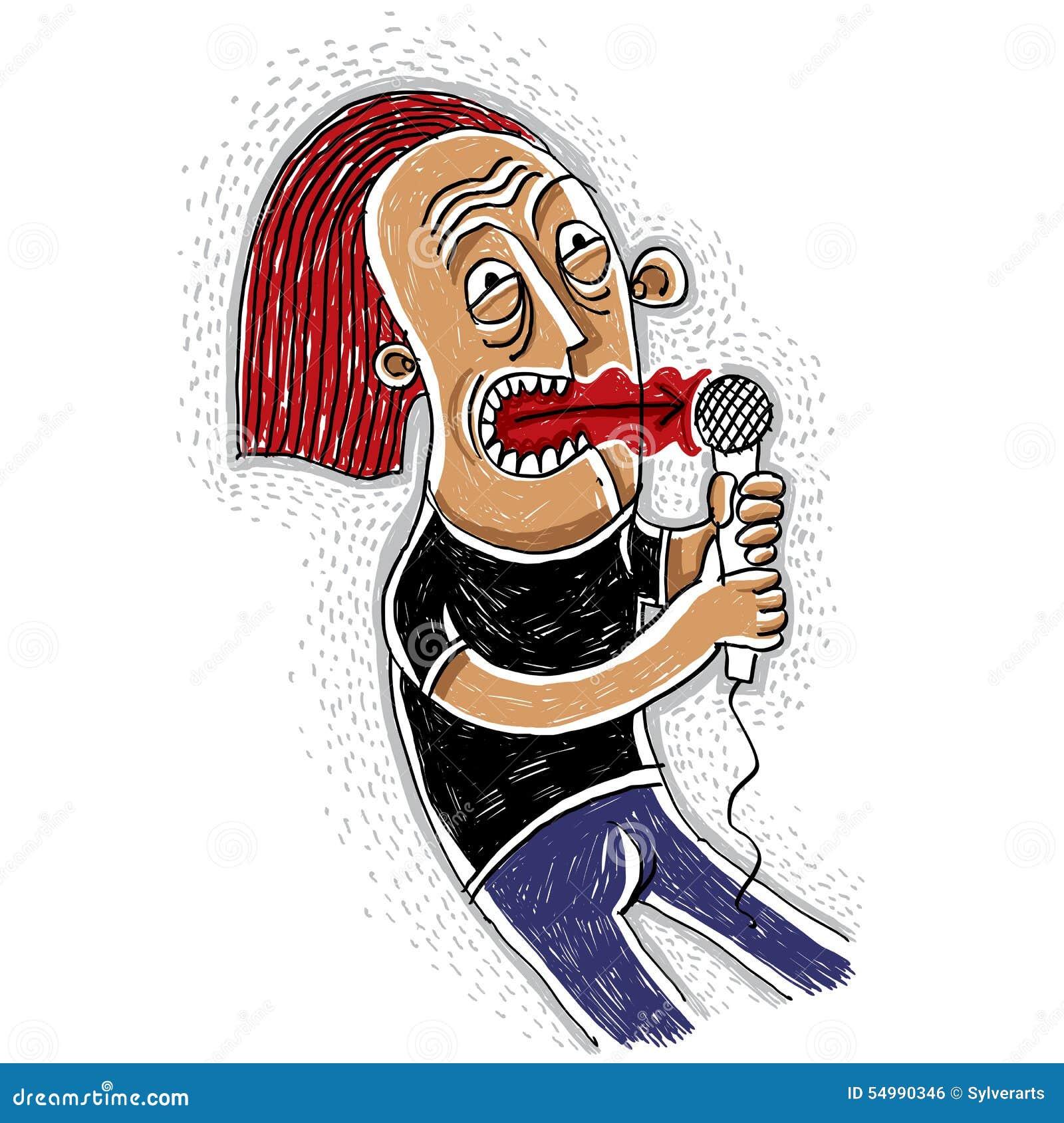 Färgrik teckning av en popsångare som rymmer en mikrofon musiker