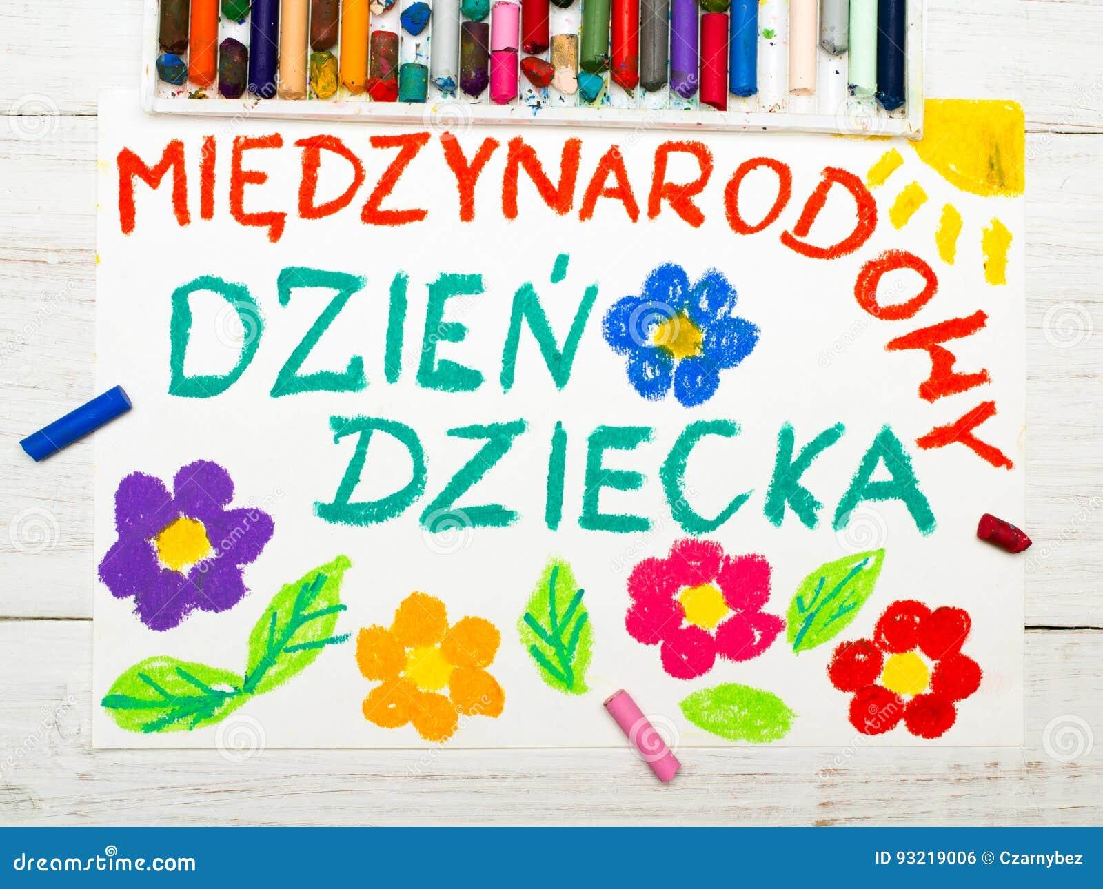 Färgrik teckning: Polskt kort för dag för barn` s