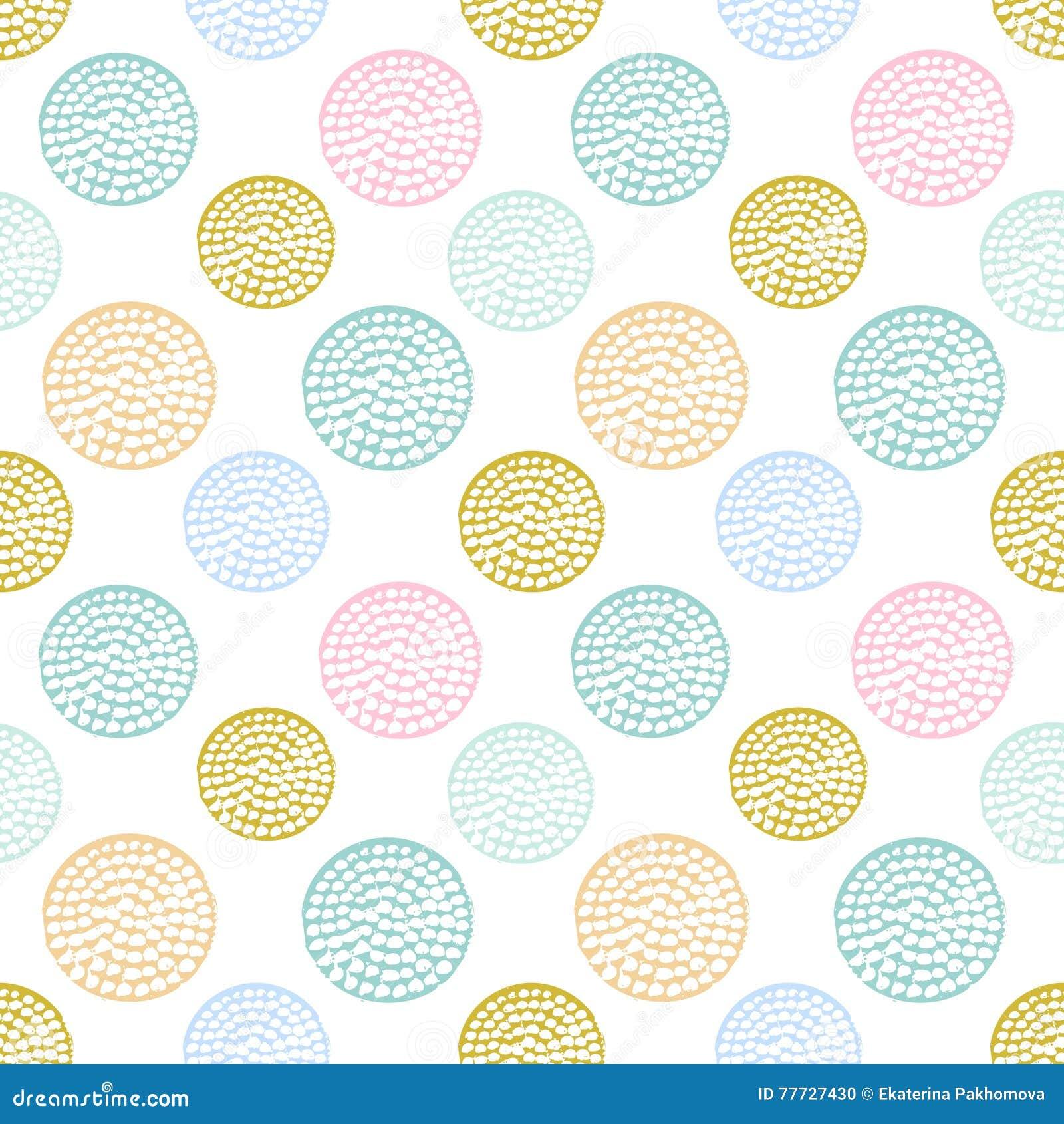 Färgrik texturerad sömlös modell för cirkel, blått, rosa färger, rund grungeprick för guling