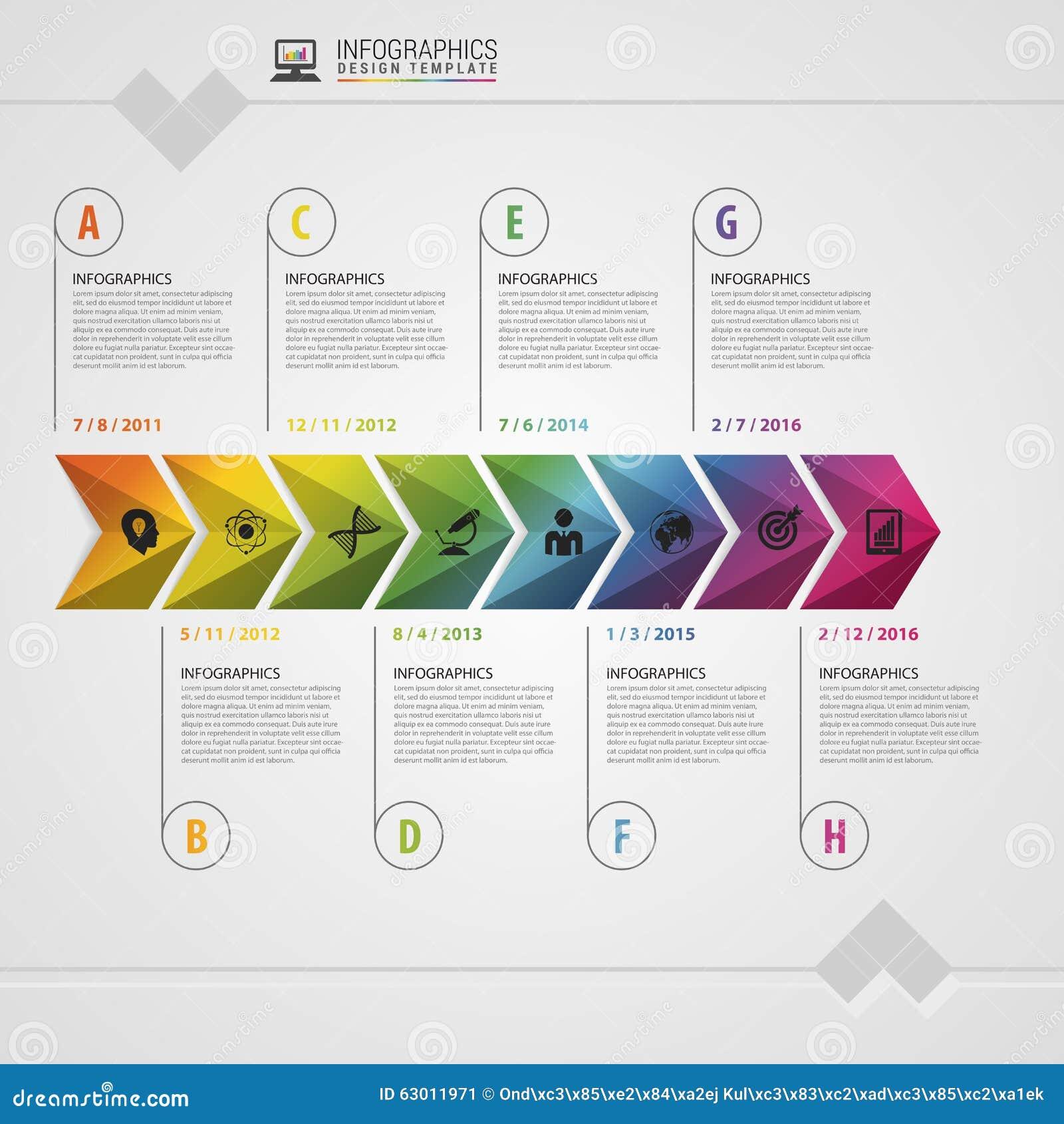 Färgrik Timeline Infographic designmall modernt begrepp också vektor för coreldrawillustration