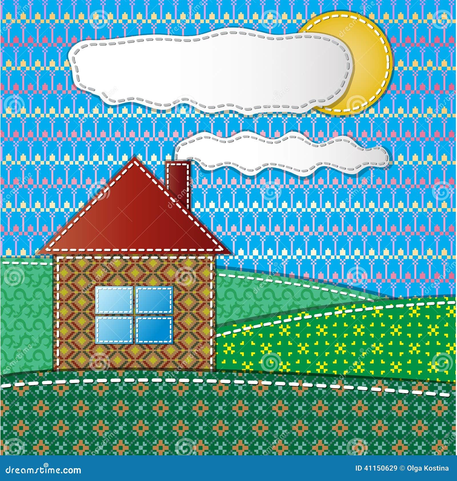 Färgrik urklippsbok med huset