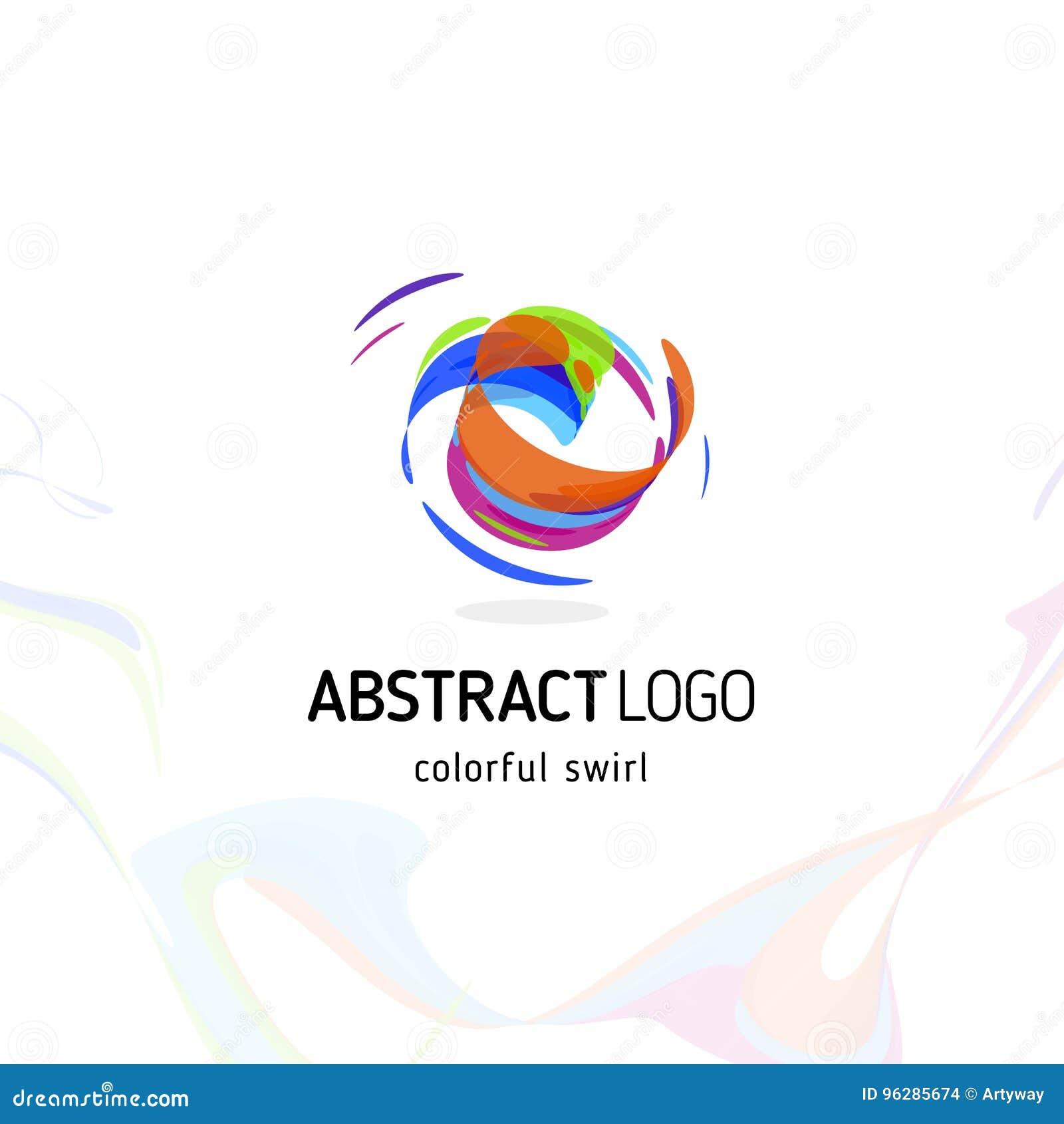 Färgrik vridande abstrakt logo för virvel Krullad dynamisk cirkelform, rörelsevektorlogotyp Borsteslaglängdvektor