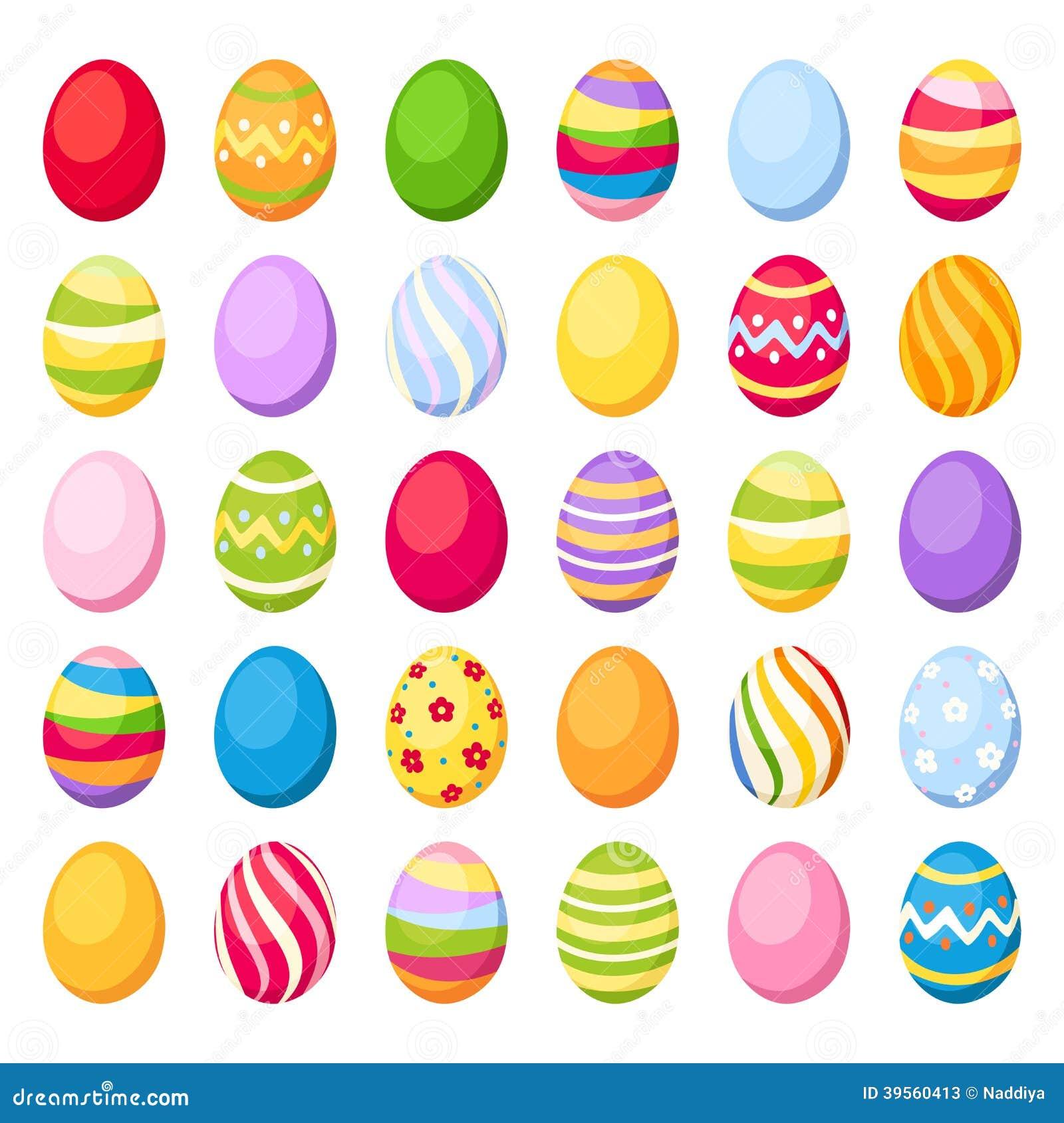 Färgrika ägg för påsk. Vektorillustration.