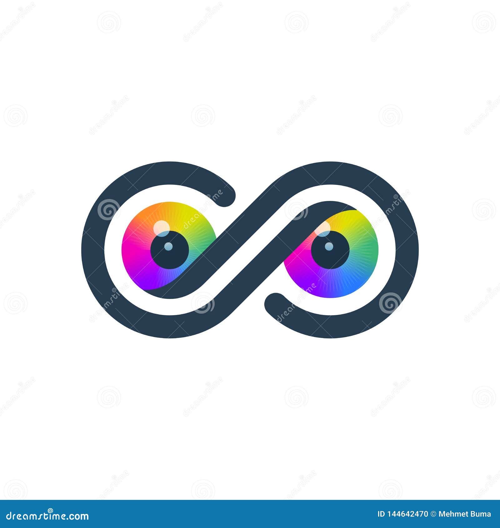 Färgrika ögon i oändlighetssymbol