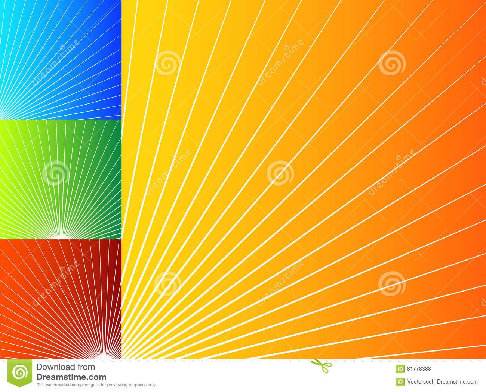 Färgrika abstrakta bakgrunder med radiella linjer
