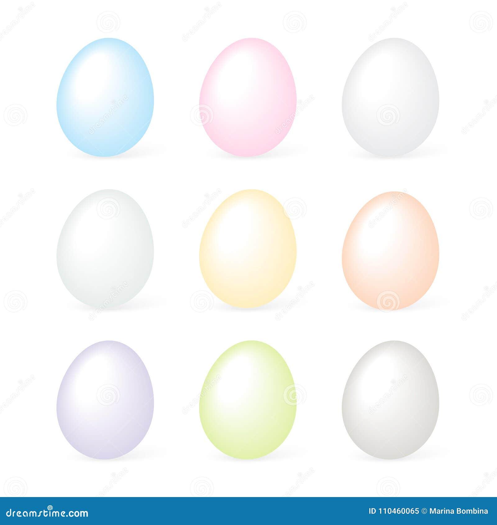 Färgrika easter ägg ställde in på den vita bakgrundsvektorn