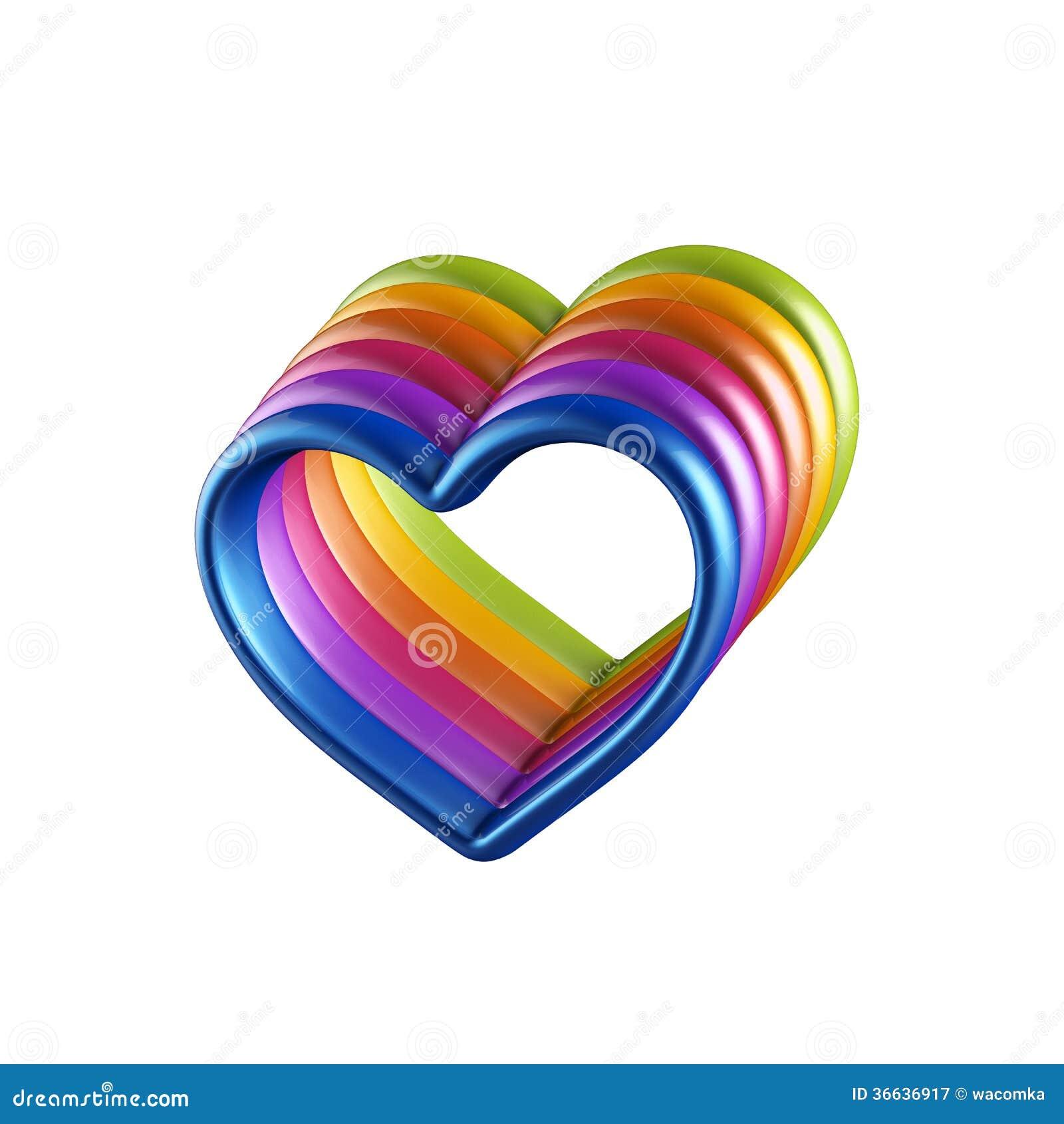 Färgrika hjärtor som 3d tillsammans kombineras