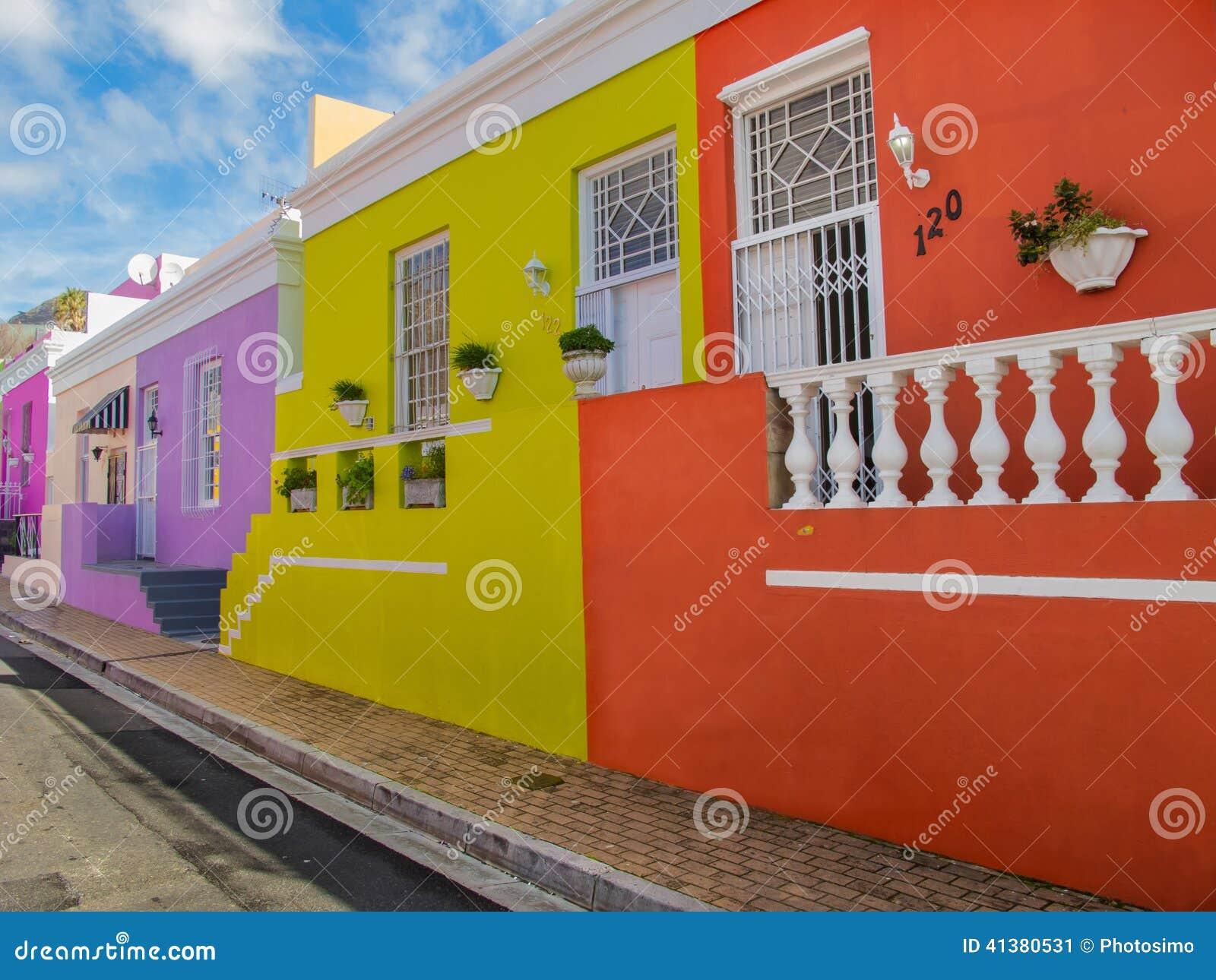 Färgrika hus i det Bo Kaap området, Cape Town, Sydafrika
