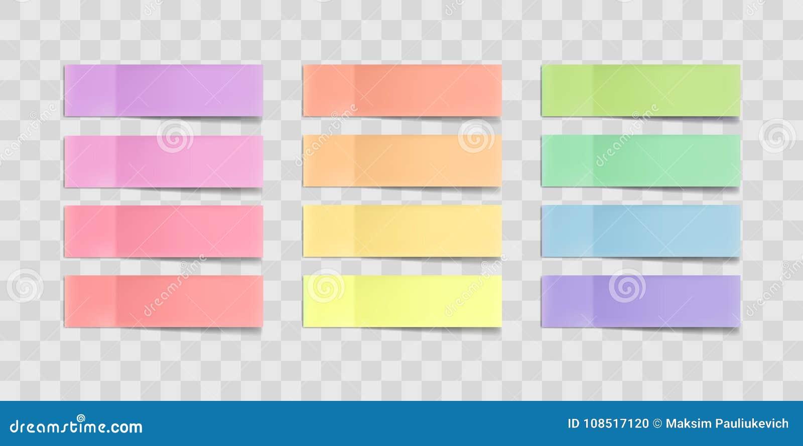 Färgrika klibbiga anmärkningar för vektor, klistermärkear med skuggor som isoleras på en genomskinlig bakgrund Flerfärgad pappers