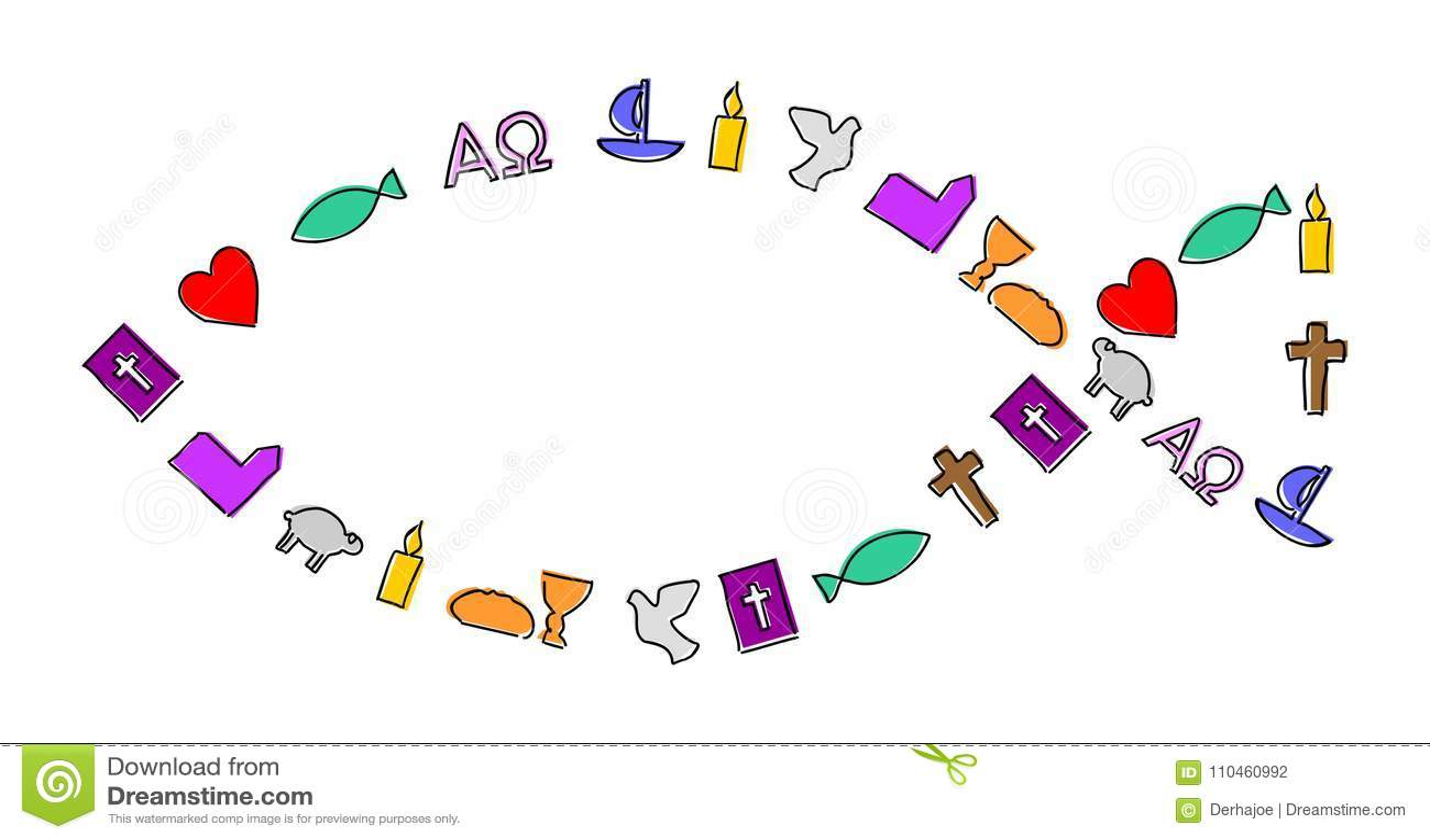 Färgrika kristna symboler med översikten