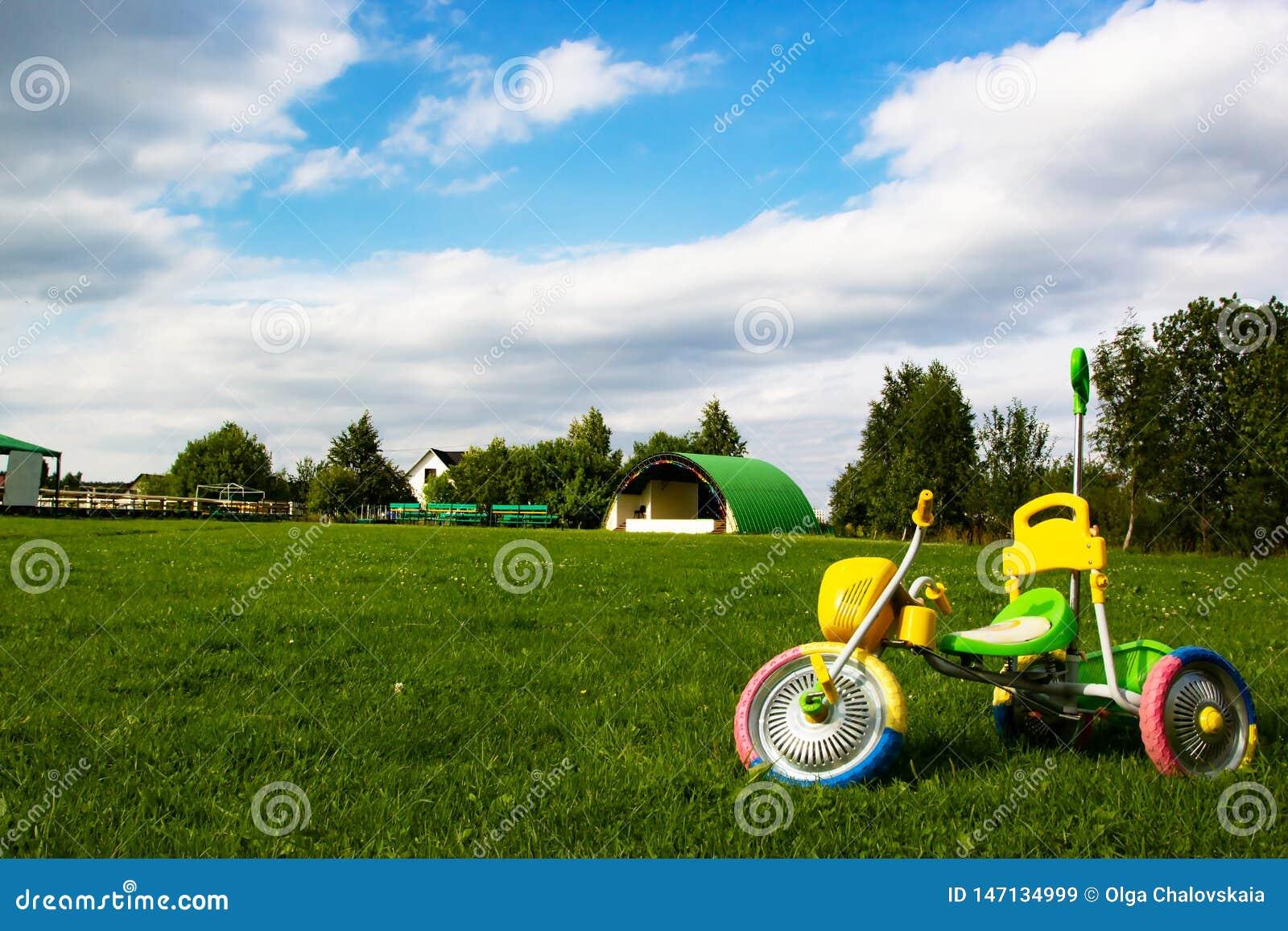Färgrika leksakbarns cykel på ett grönt gräs