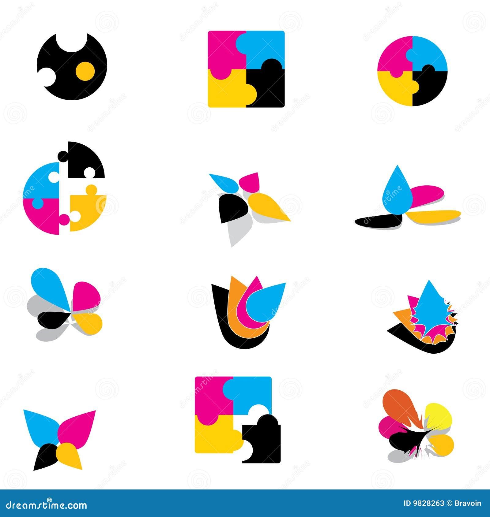 Färgrika logoer