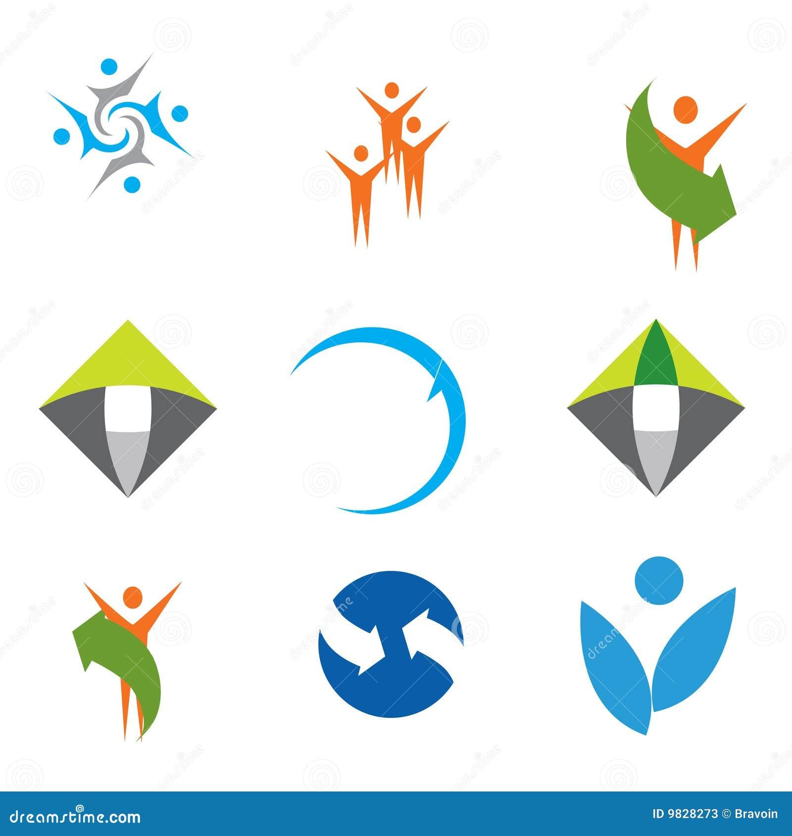 Färgrika logoer för samling