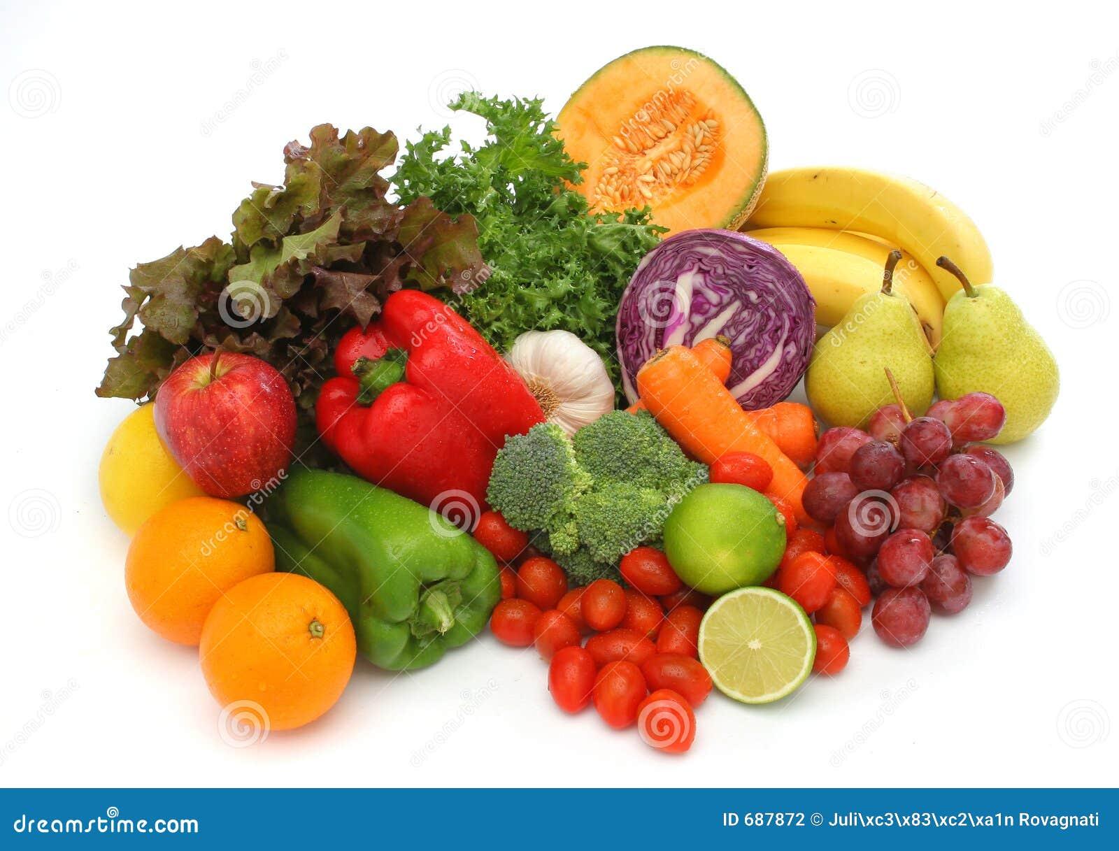 Färgrika nya frukter grupperar grönsaker