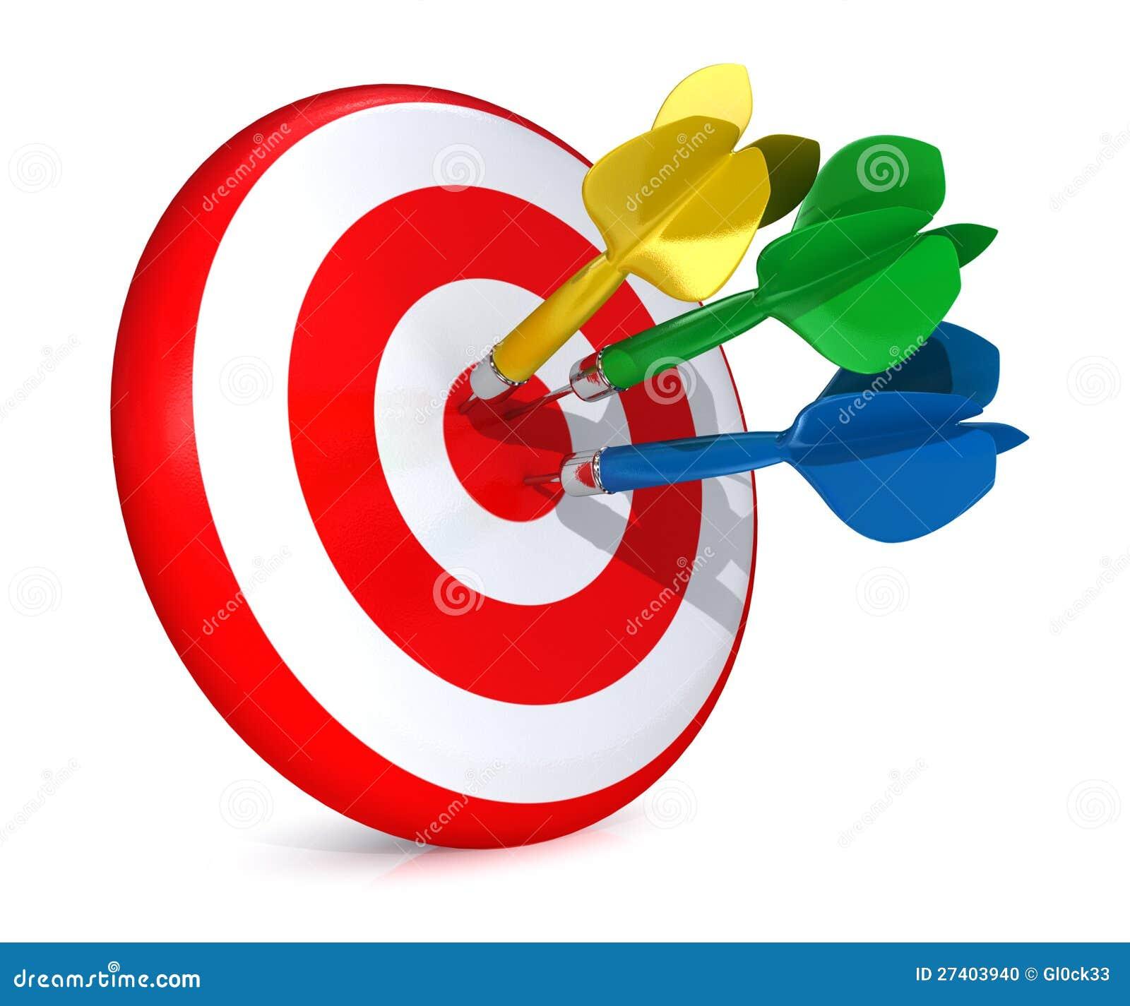 Färgrika pilar som slår ett mål
