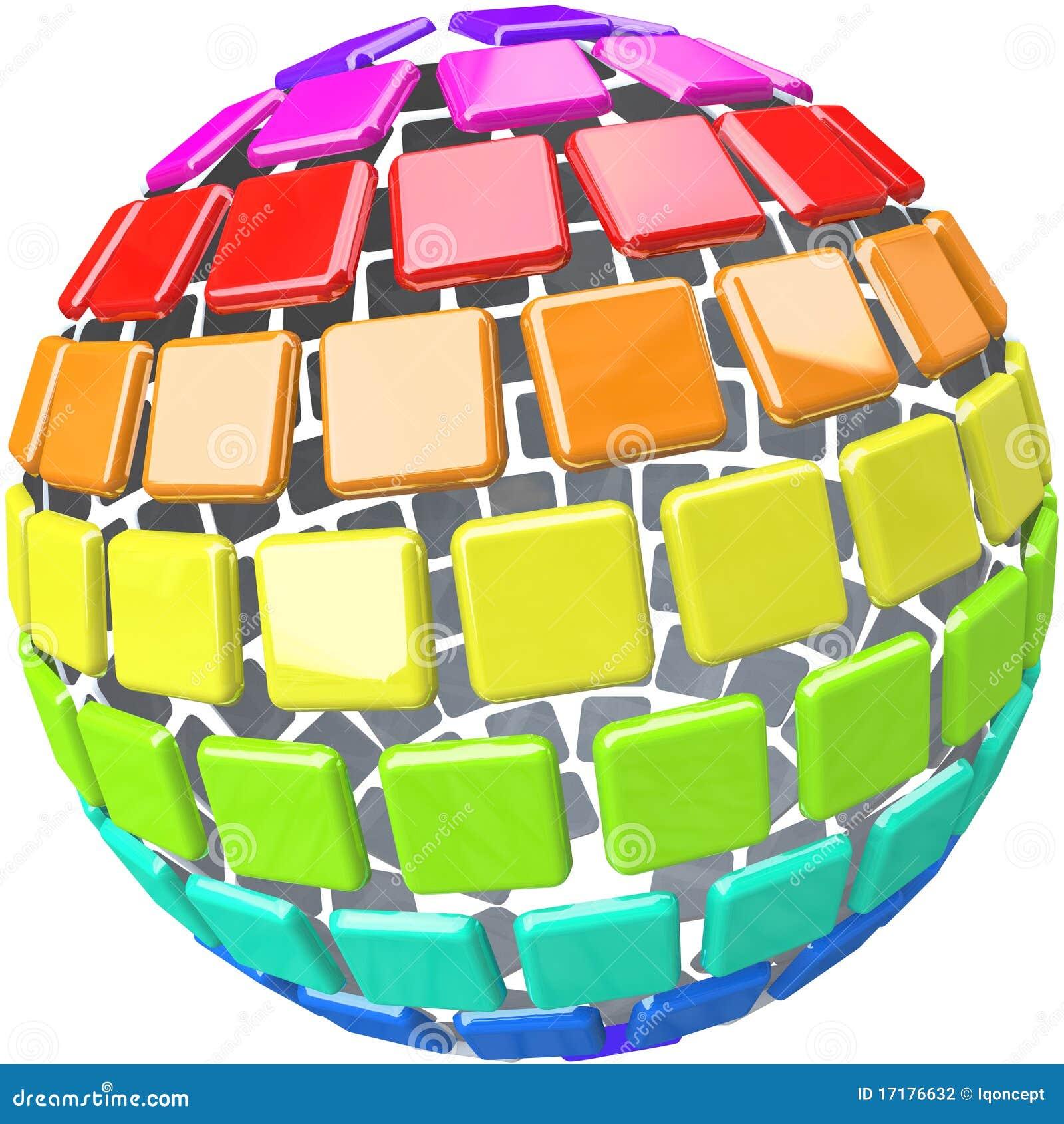 Färgrika provkartor för jordklotmodellsphere