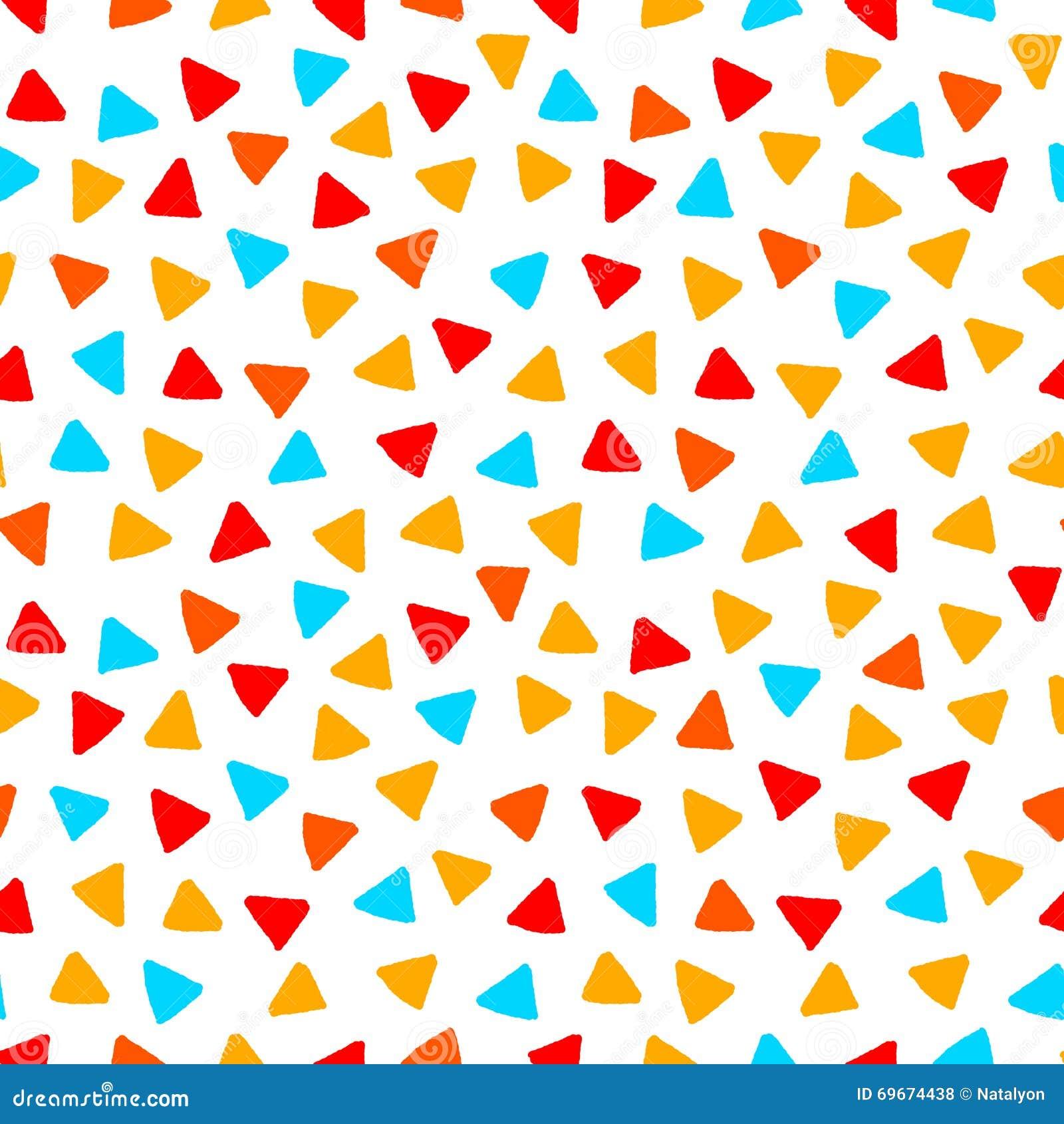 Färgrika röda blåtttrianglar för orange guling räcker den utdragna sömlösa modellen, vektor