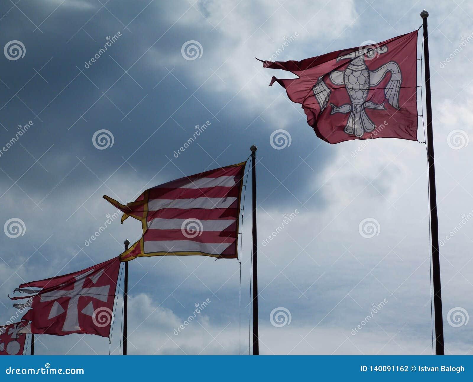 Färgrika röda och vita flaggor i abstrakt sikt med cloudscape
