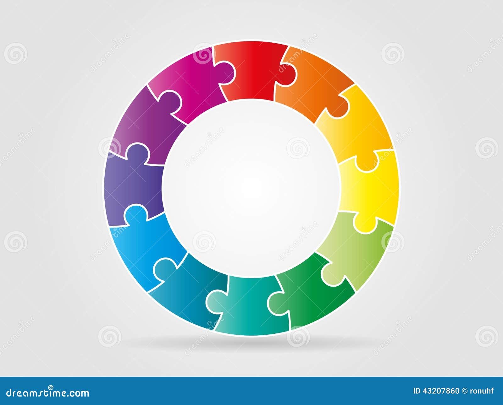 Download Färgrika Regnbågepusselstycken Som Bildar En Cirkel Vektor Illustrationer - Illustration av match, bilda: 43207860