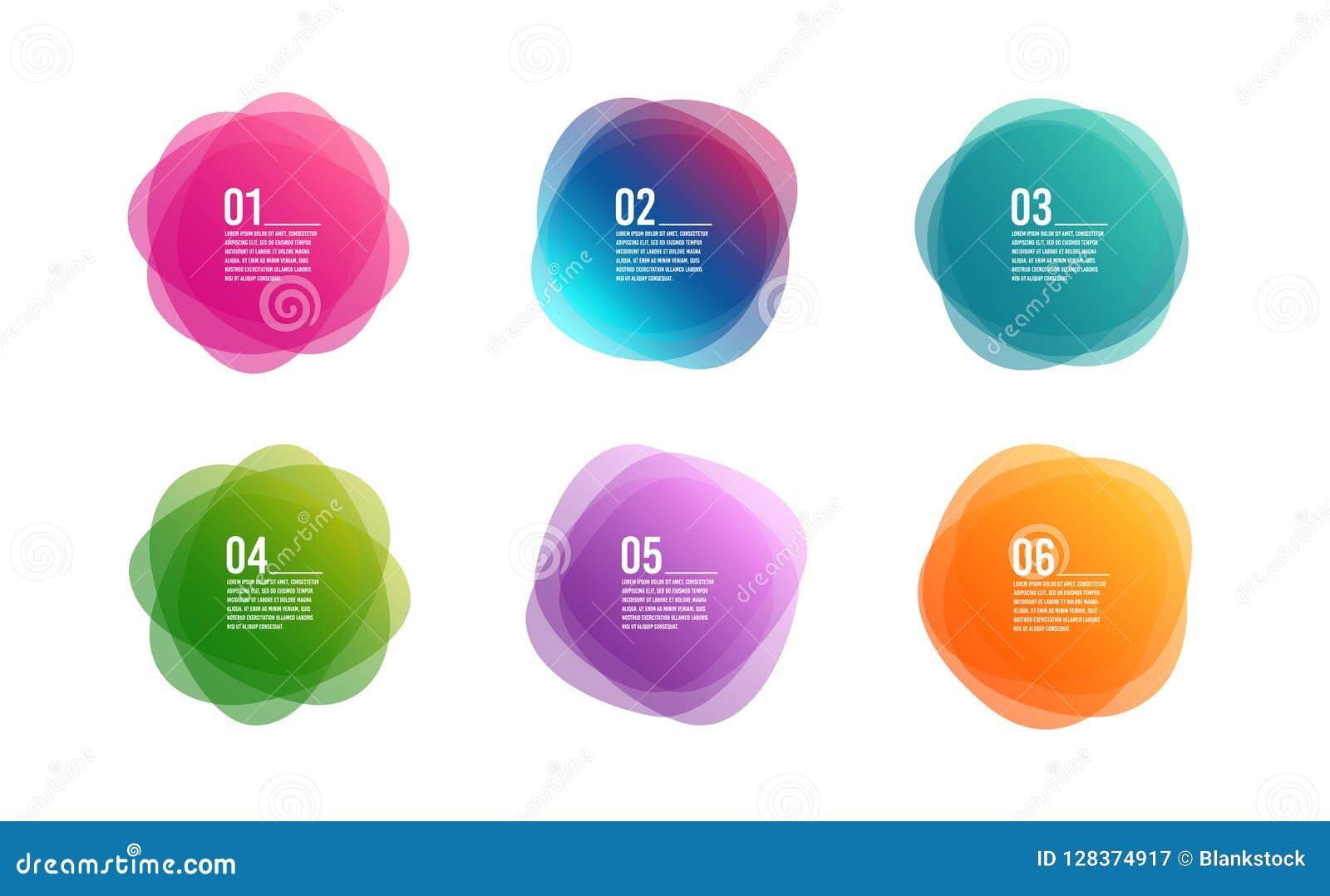 Färgrika runda baner Design för konst för samkopieringsfärgform Abstrakta stilfläckar Grafiska etiketter Infographic vektor