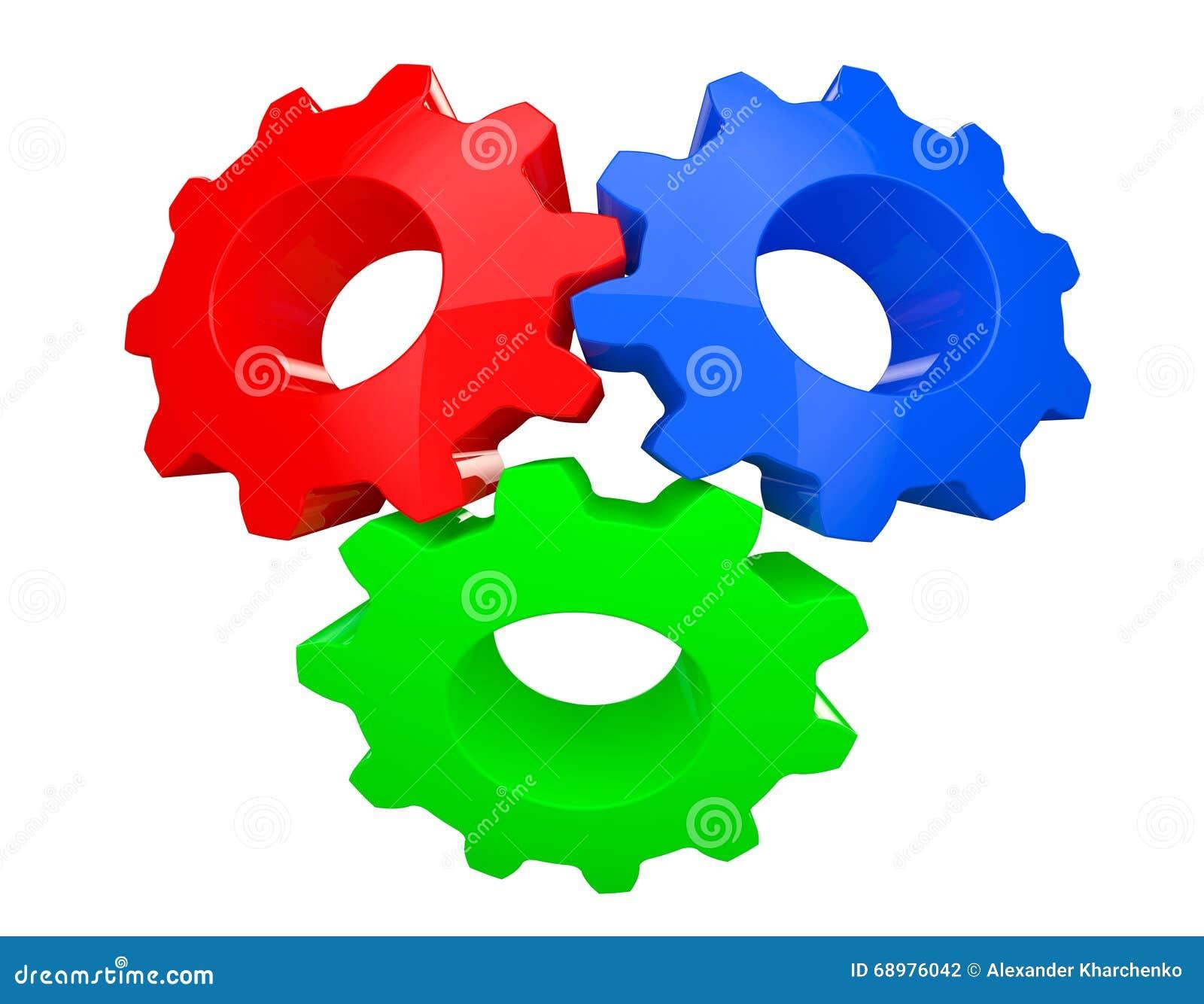 Färgrika teamworkkugghjul