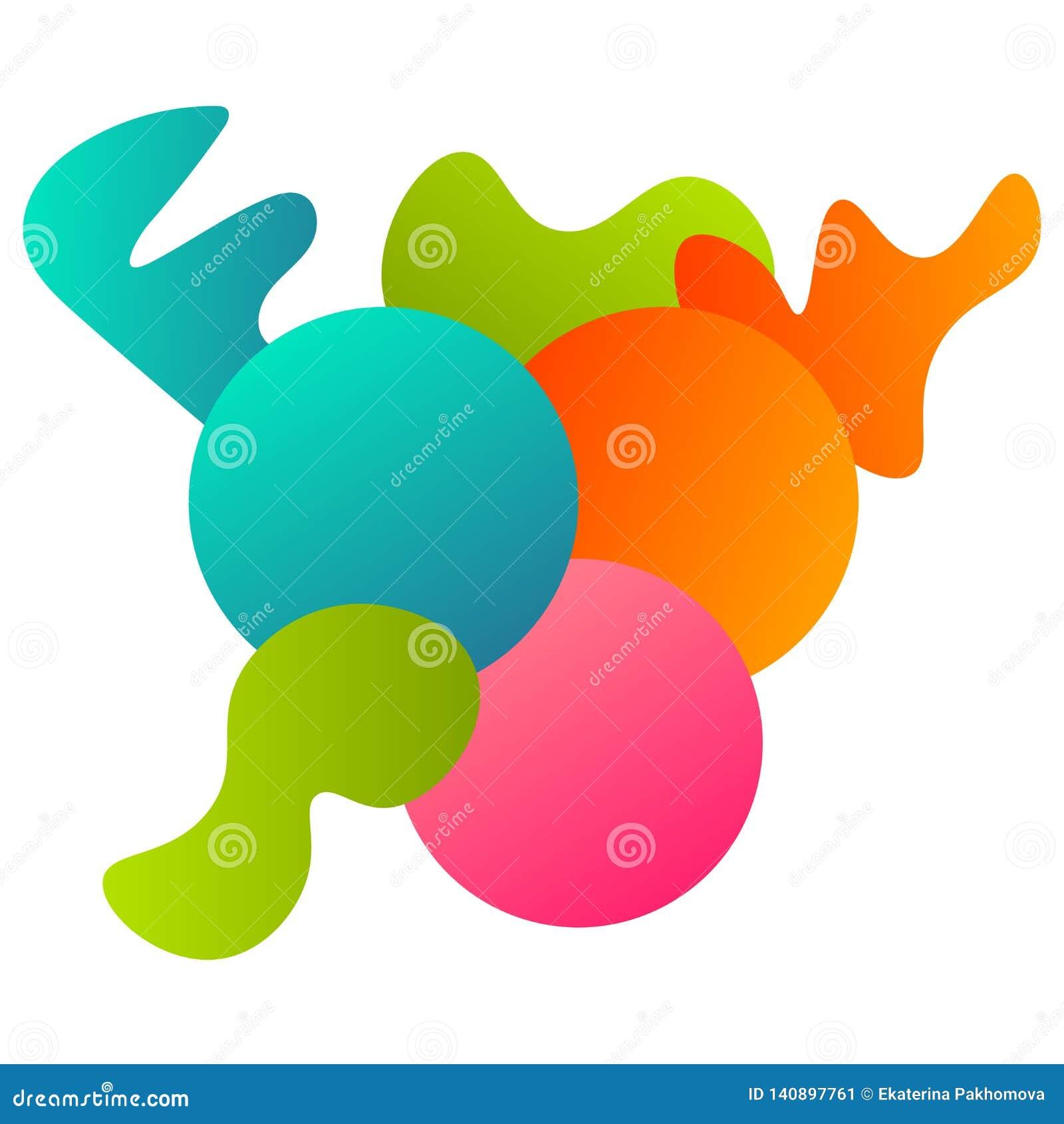 Färgrikt abstrakt geometriskt kort med geometrisk sammansättning - cirklar, ojämna former som isoleras på vit bakgrund