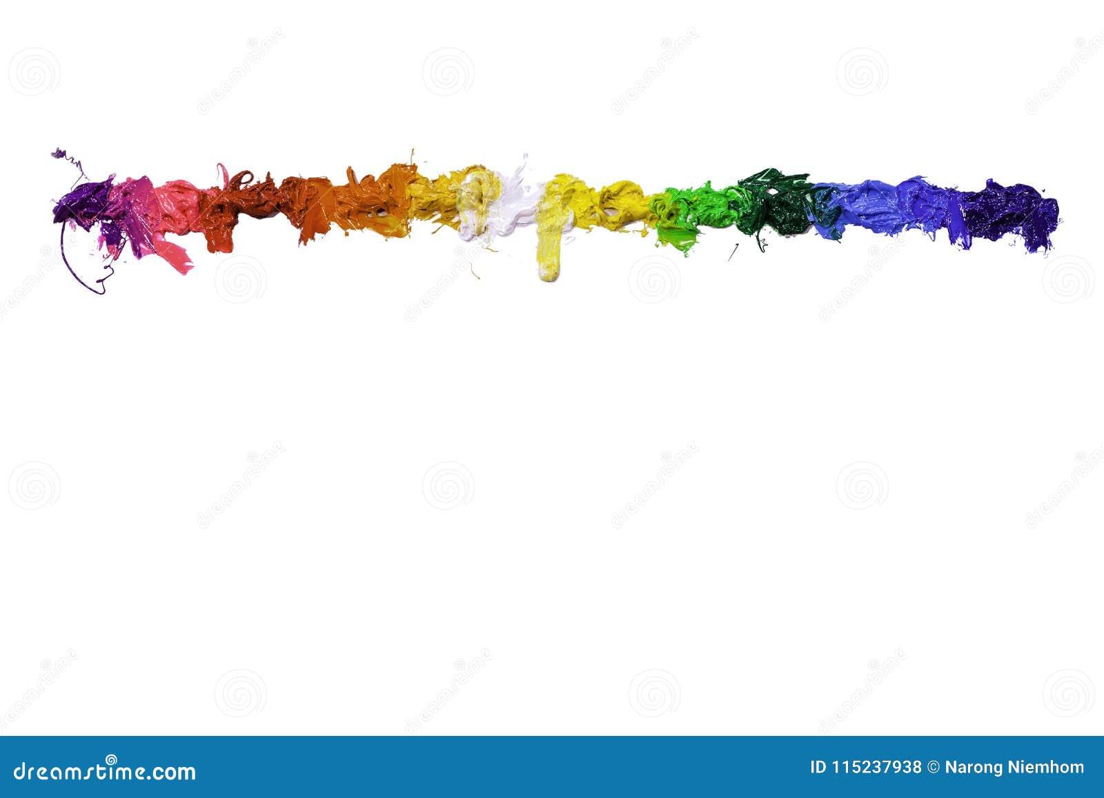 Färgrikt av plastisolfärgpulver dryper förbi i motsatta riktningar