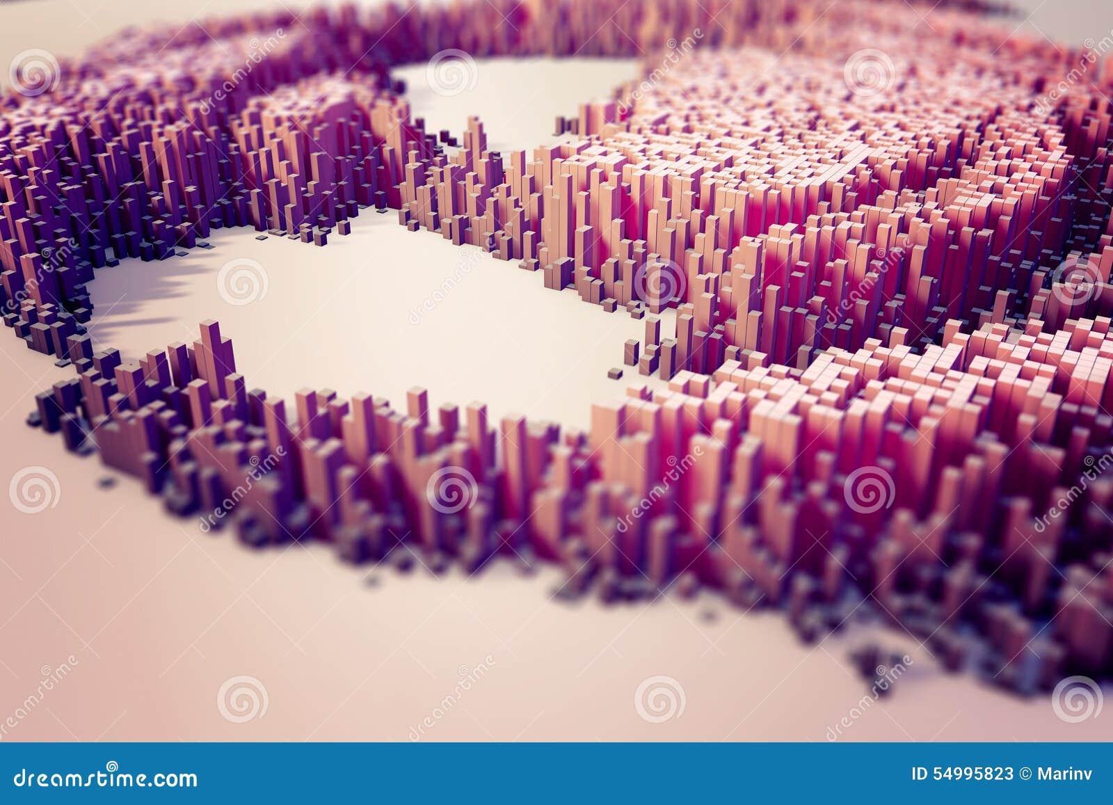 Färgrikt fält av kubkolonner som utgör den abstrakta enheten