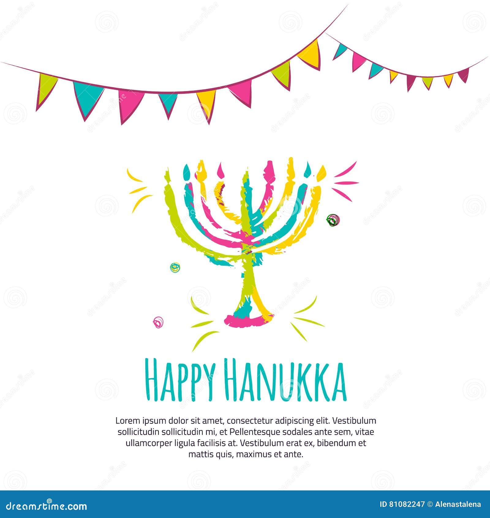 Färgrikt hälsningkort för lycklig Chanukkah med hand drog beståndsdelar på vit bakgrund