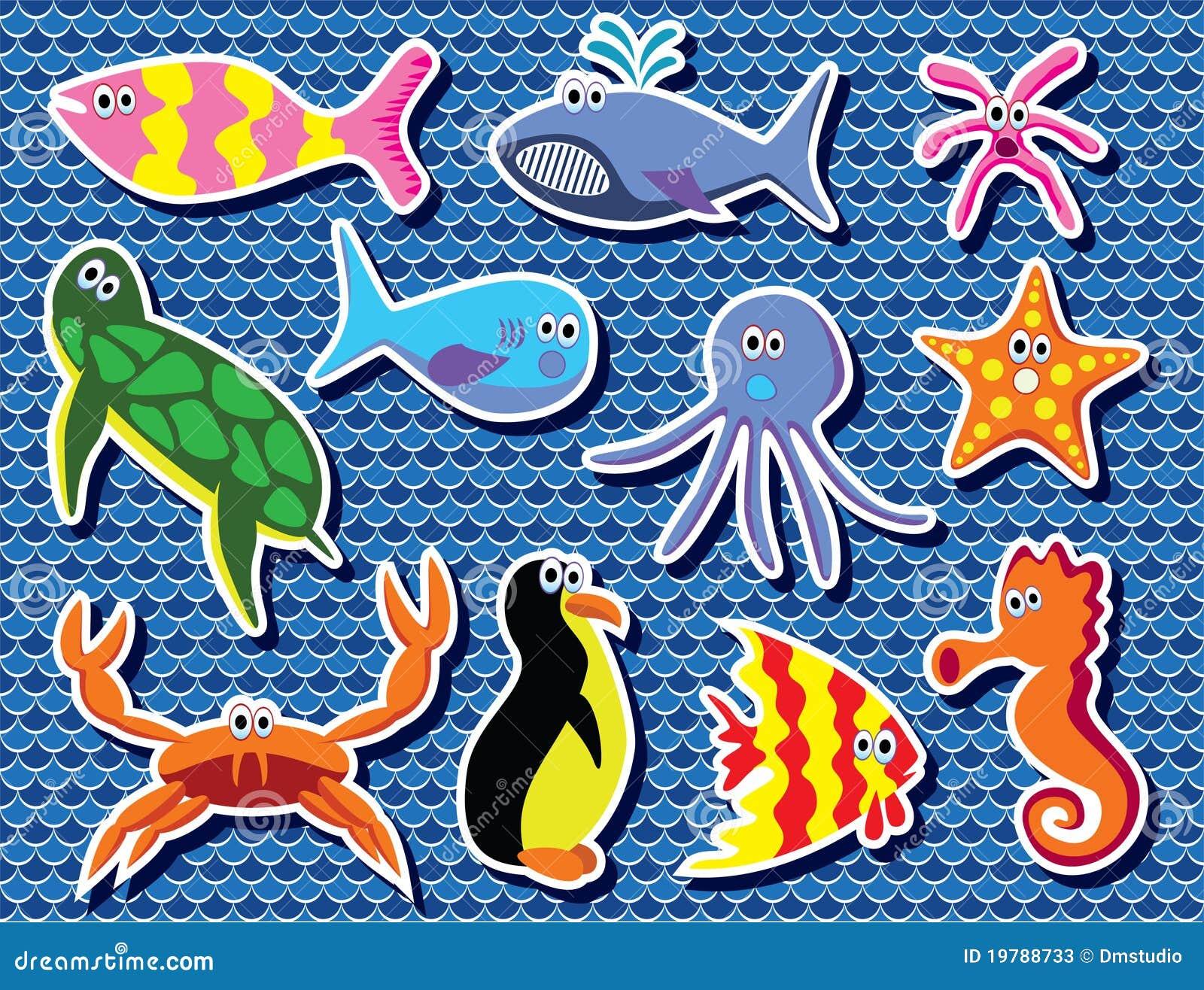 Färgrikt hav för djur
