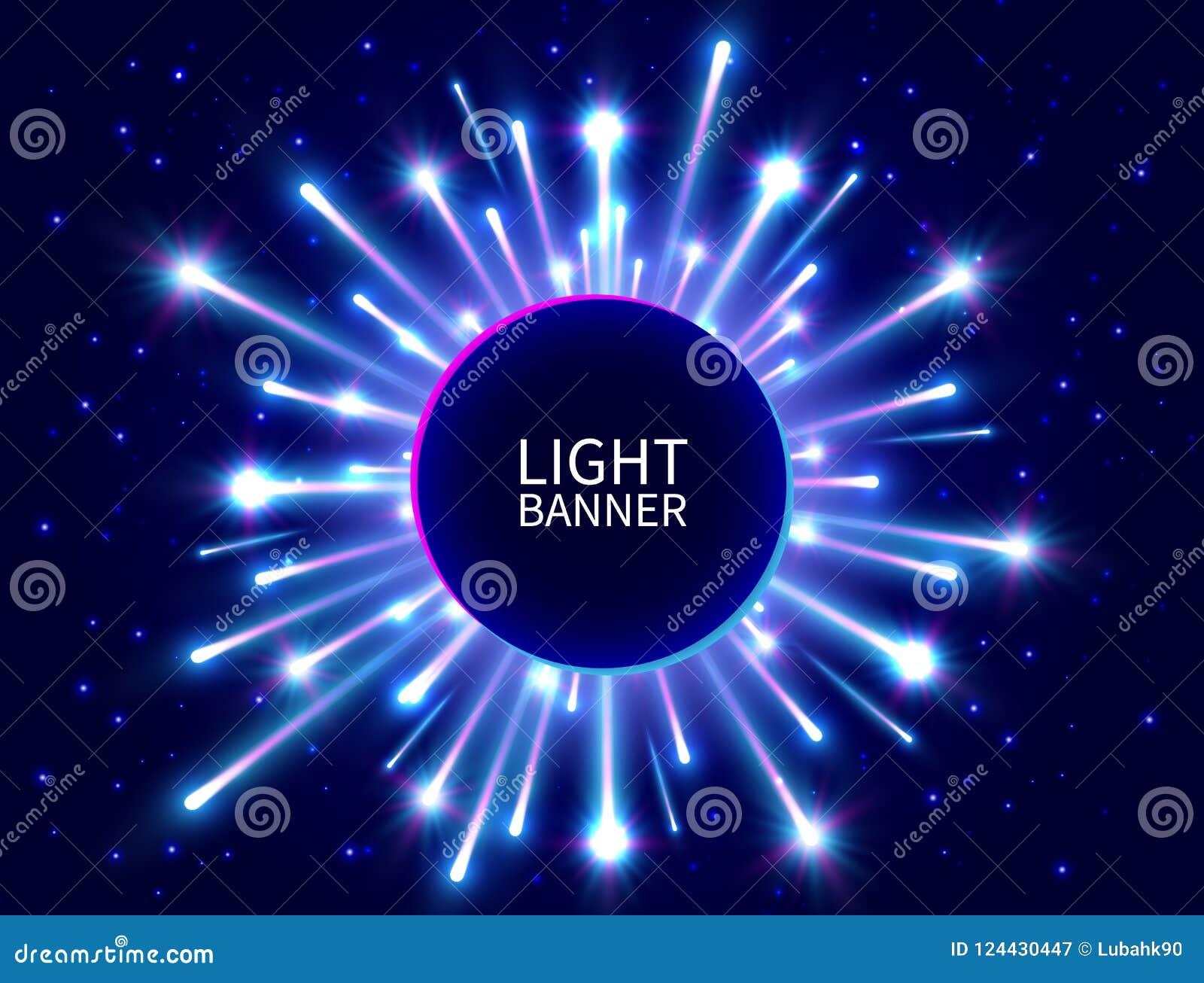 Färgrikt ljust baner med glödande strålar Glänsande neoncirkelbaner ljust fyrverkeri Den blåa stjärnan brast bakgrund för det nya