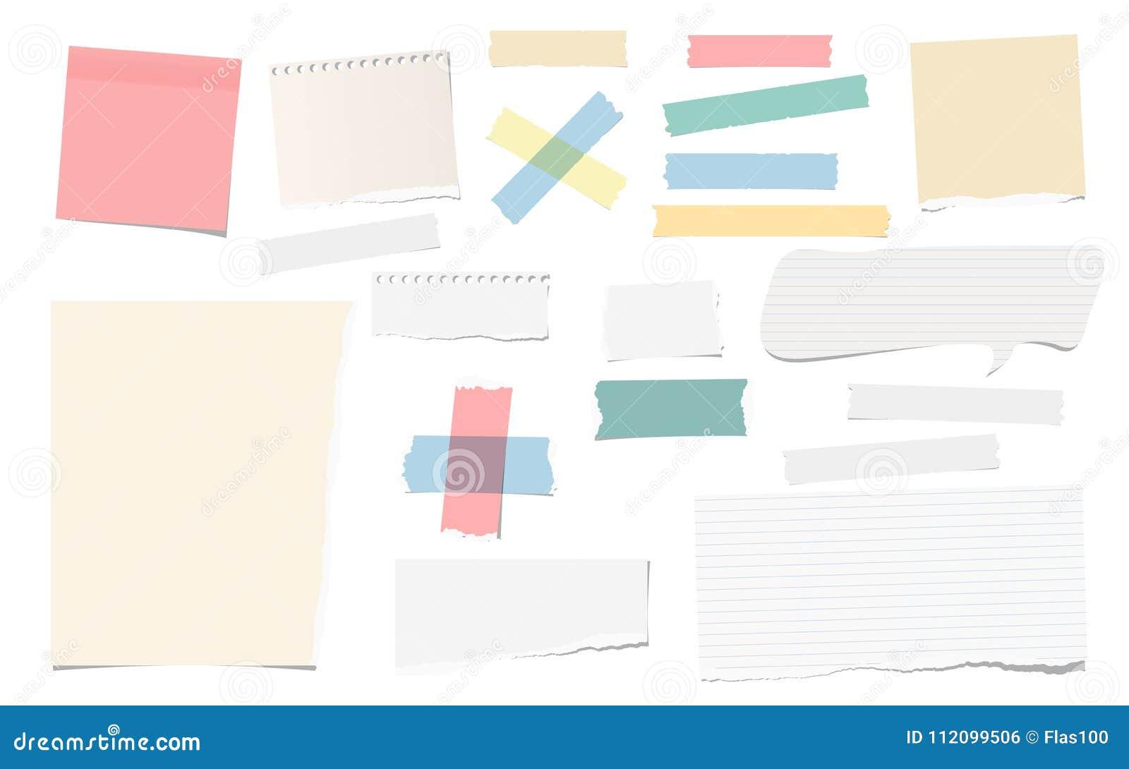 Färgrikt och vitt bindemedel, klibbigt som maskerar, kanalband, lappar den sönderrivna anmärkningen, anteckningsbokpapper för tex