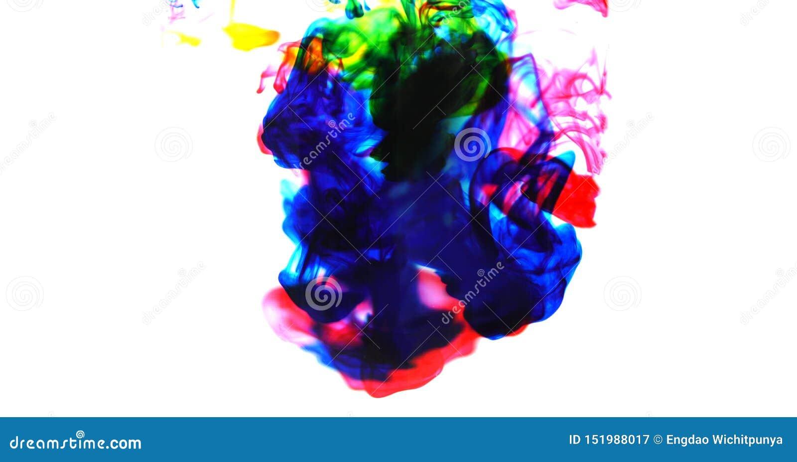 Färgstänk för färg för Cmyk färgpulverbegrepp för målarfärg - färger för akryl för regnbågefärgpulverdroppe i vatten på vit bakgr