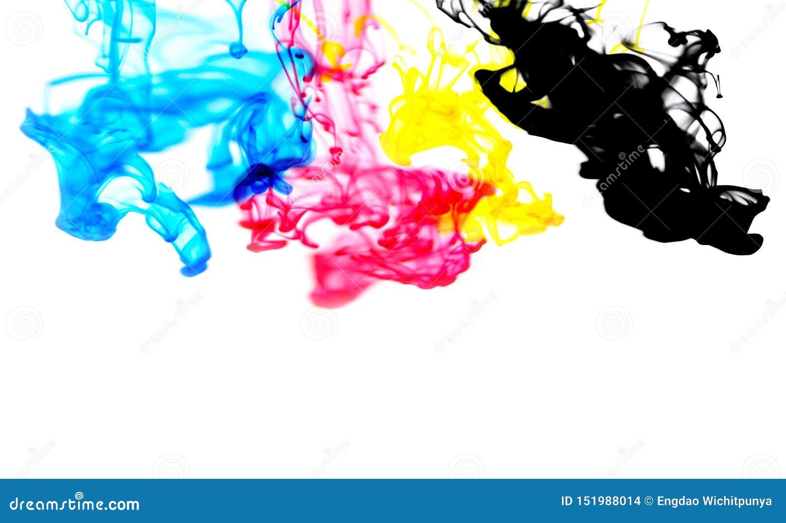 Färgstänk för färg för Cmyk färgpulverbegrepp för målarfärg med cyan blått rött magentafärgat gult och svart - färger för akryl f