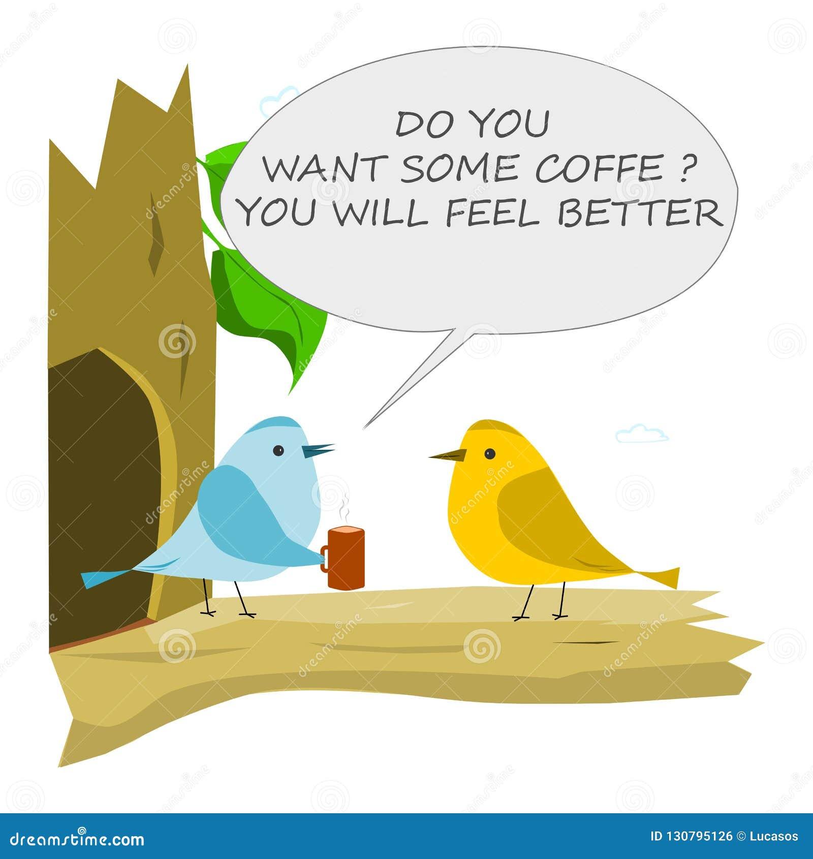 Fågel med koppen kaffe