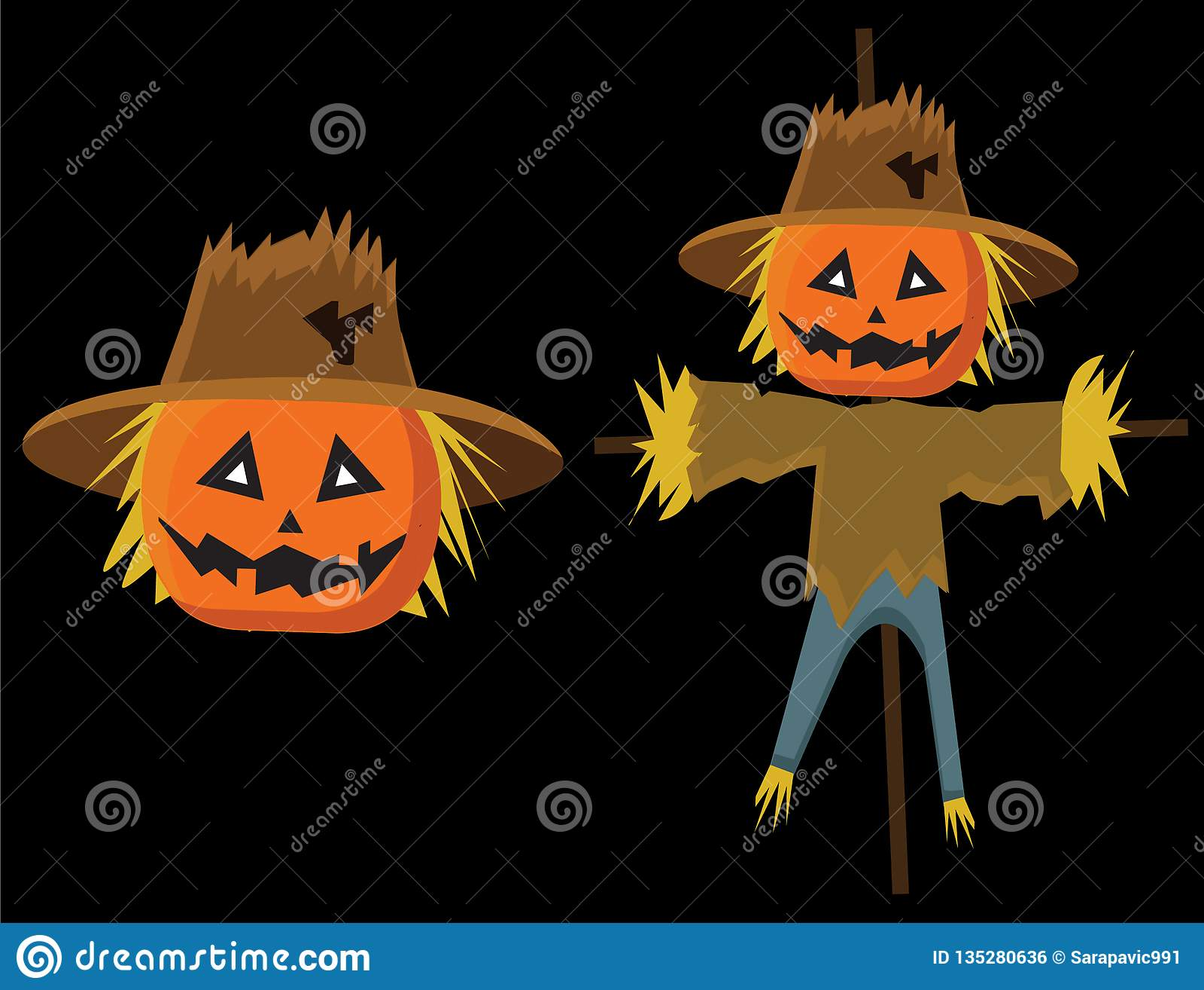 Fågelskrämma som är läskig med pumkins för ungar för halloween