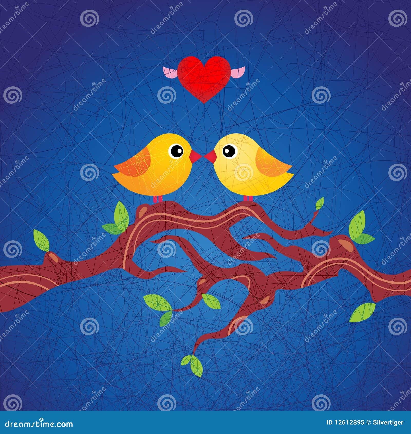 Fåglar little förälskelse två