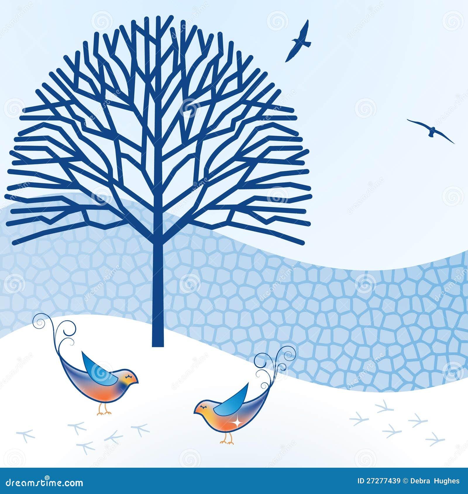 Fåglar med den tegelstenväggen och treen