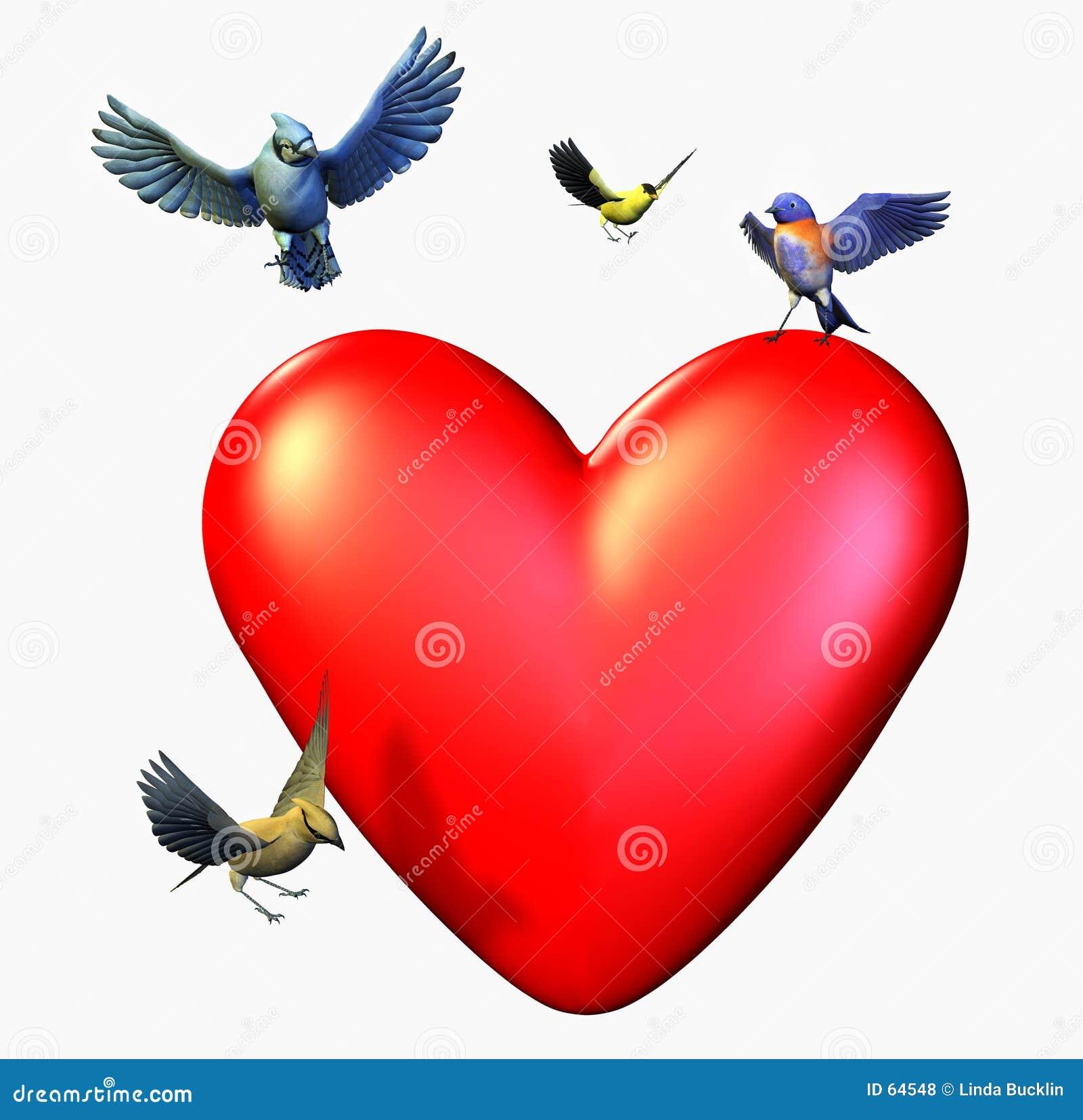 Fåglar som fäster hjärta ihop, inkluderar landningbanan