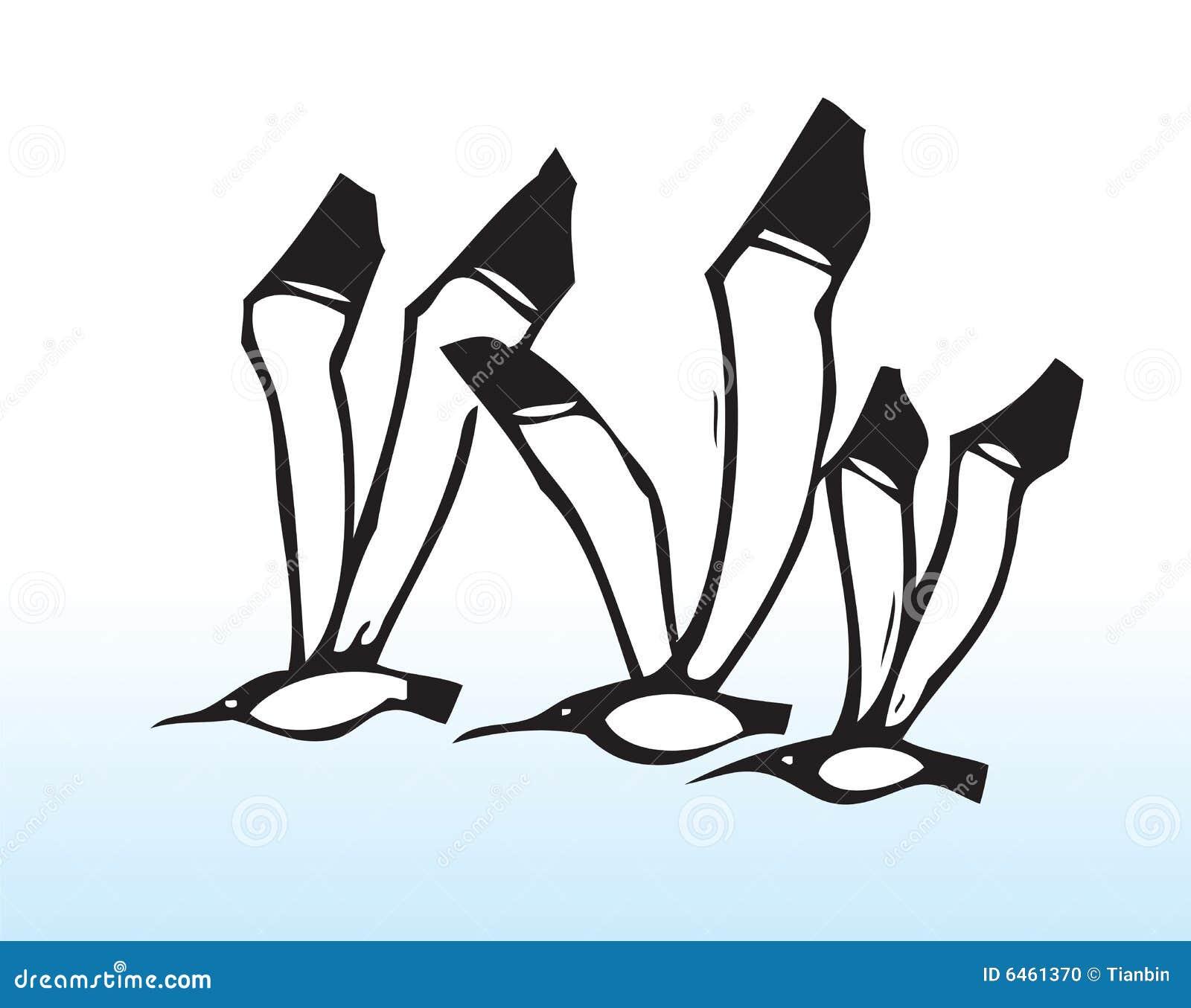 Fåglar tecknad flygahand