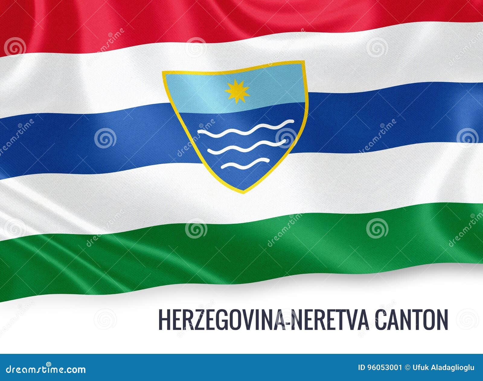 Fédération de drapeau de canton de la Herzégovine-Neretva d état de la Bosnie-Herzégovine