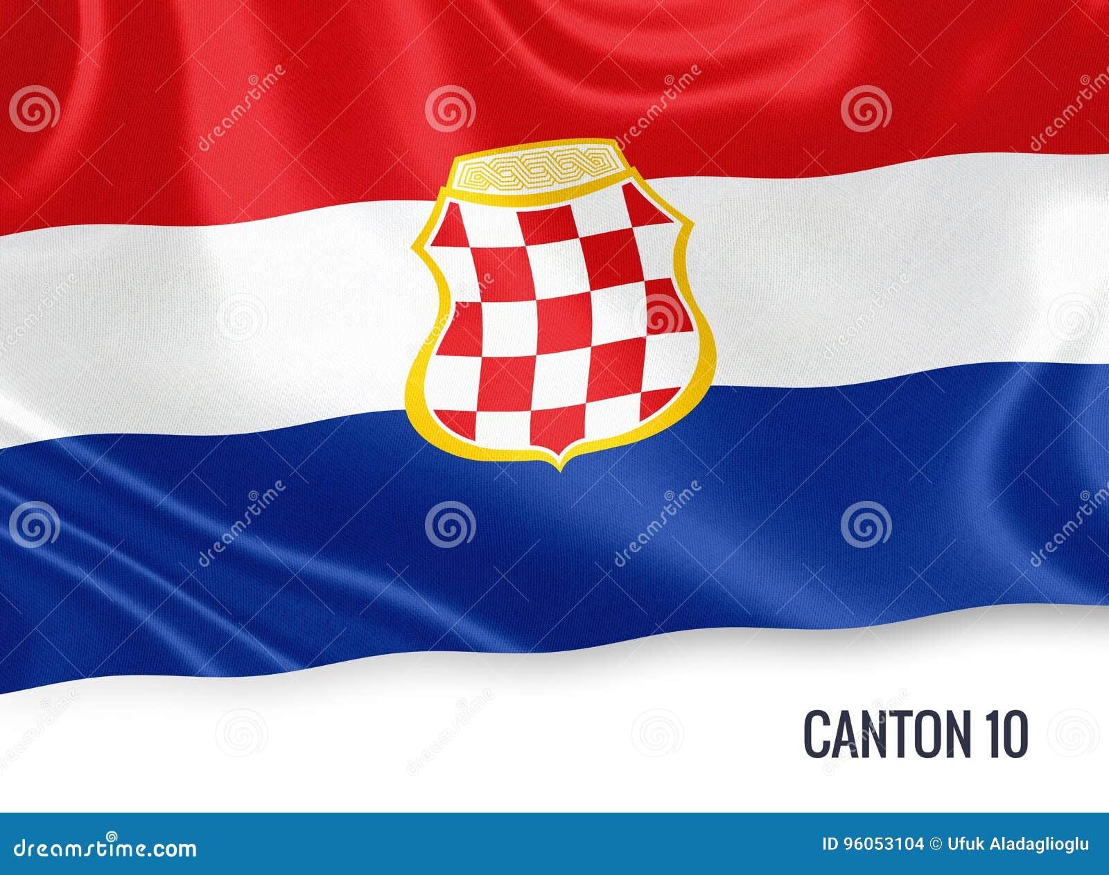 Fédération de drapeau du canton 10 d état de la Bosnie-Herzégovine